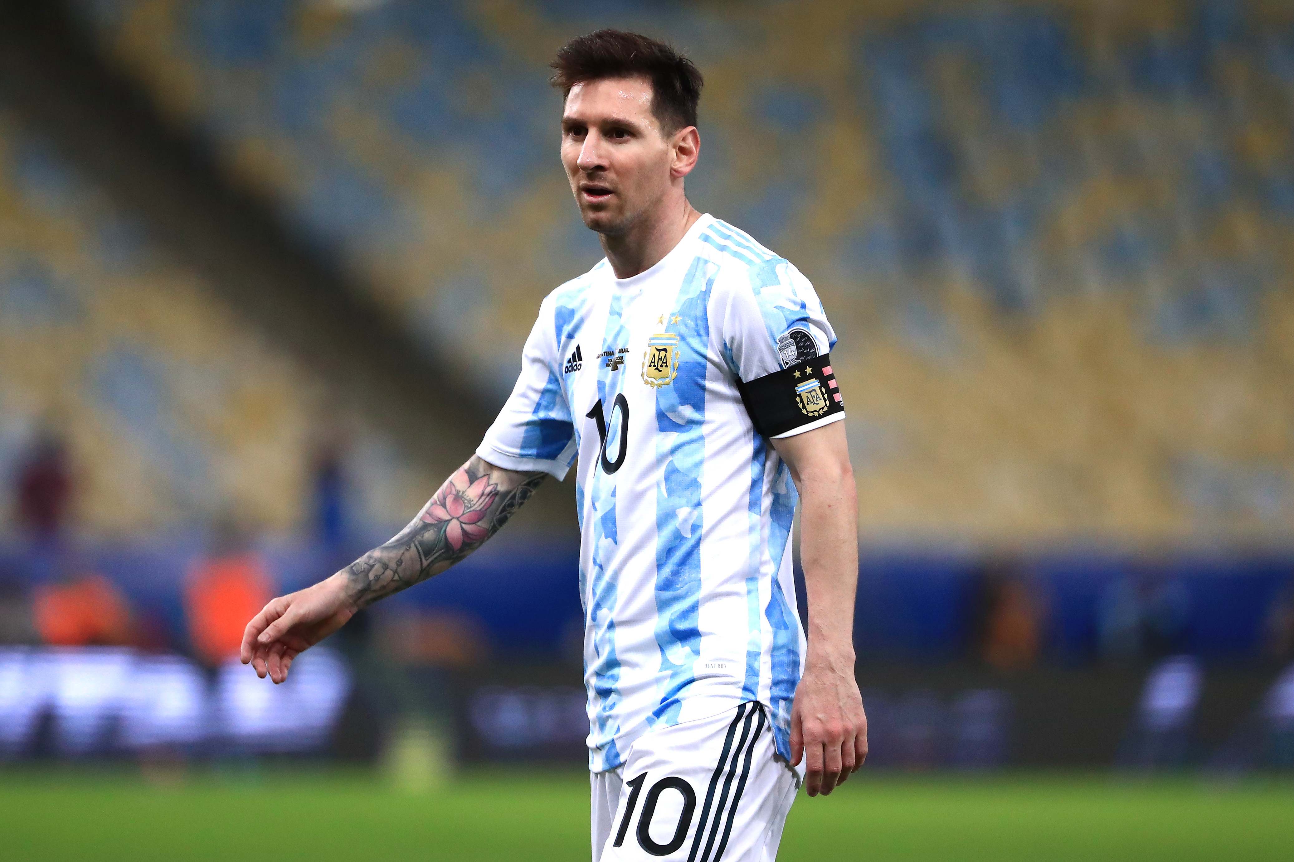 Lionel Messi of Argentina reacts during the final of Copa America Brazil 2021 between Brazil and Argentina at Maracana Stadium on July 10, 2021 in Rio de Janeiro, Brazil.