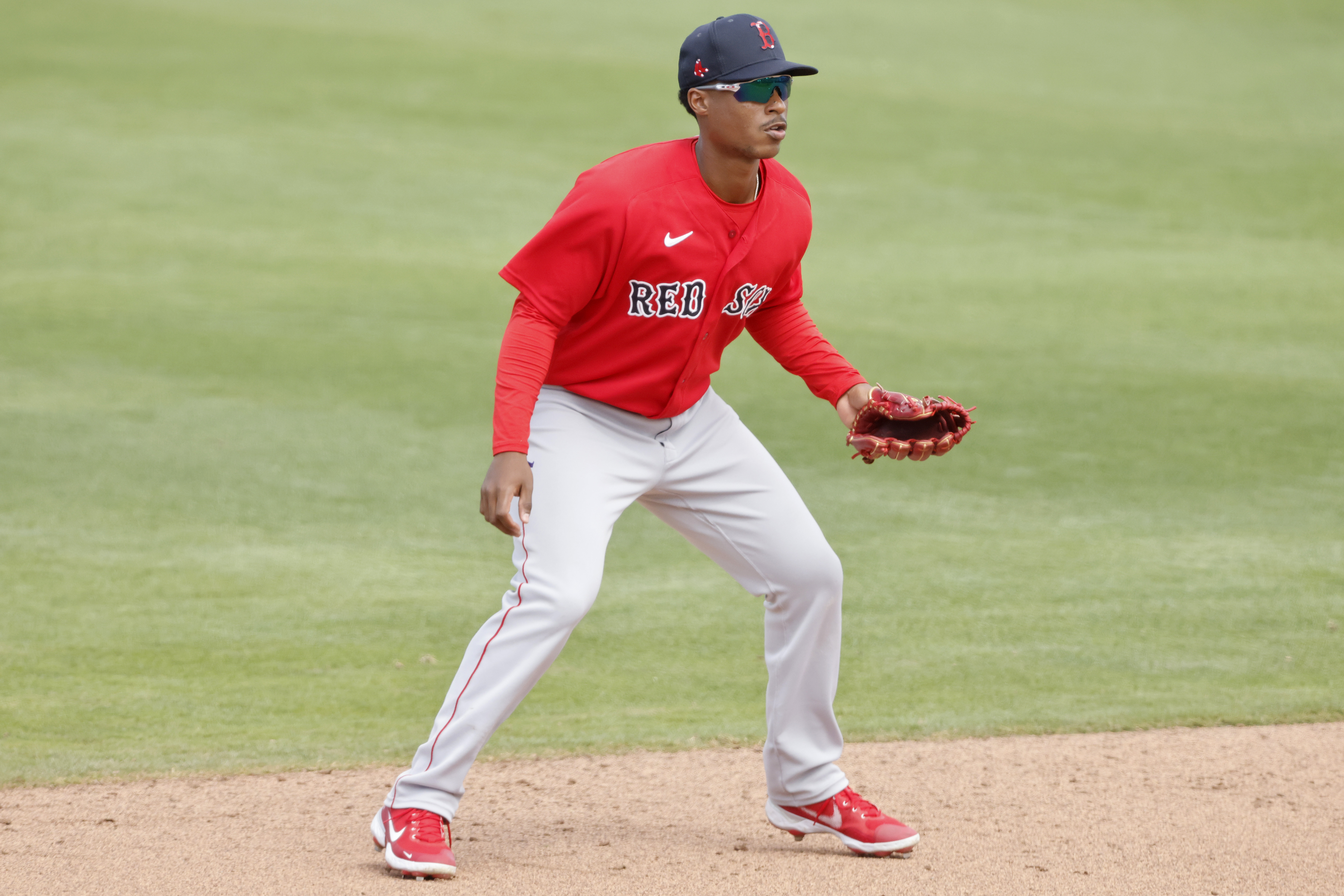 Jeter Downs #20 of the Boston Red Sox in action against the Minnesota Twins during a Grapefruit League spring training game at Hammond Stadium on March 14, 2021 in Fort Myers, Florida.
