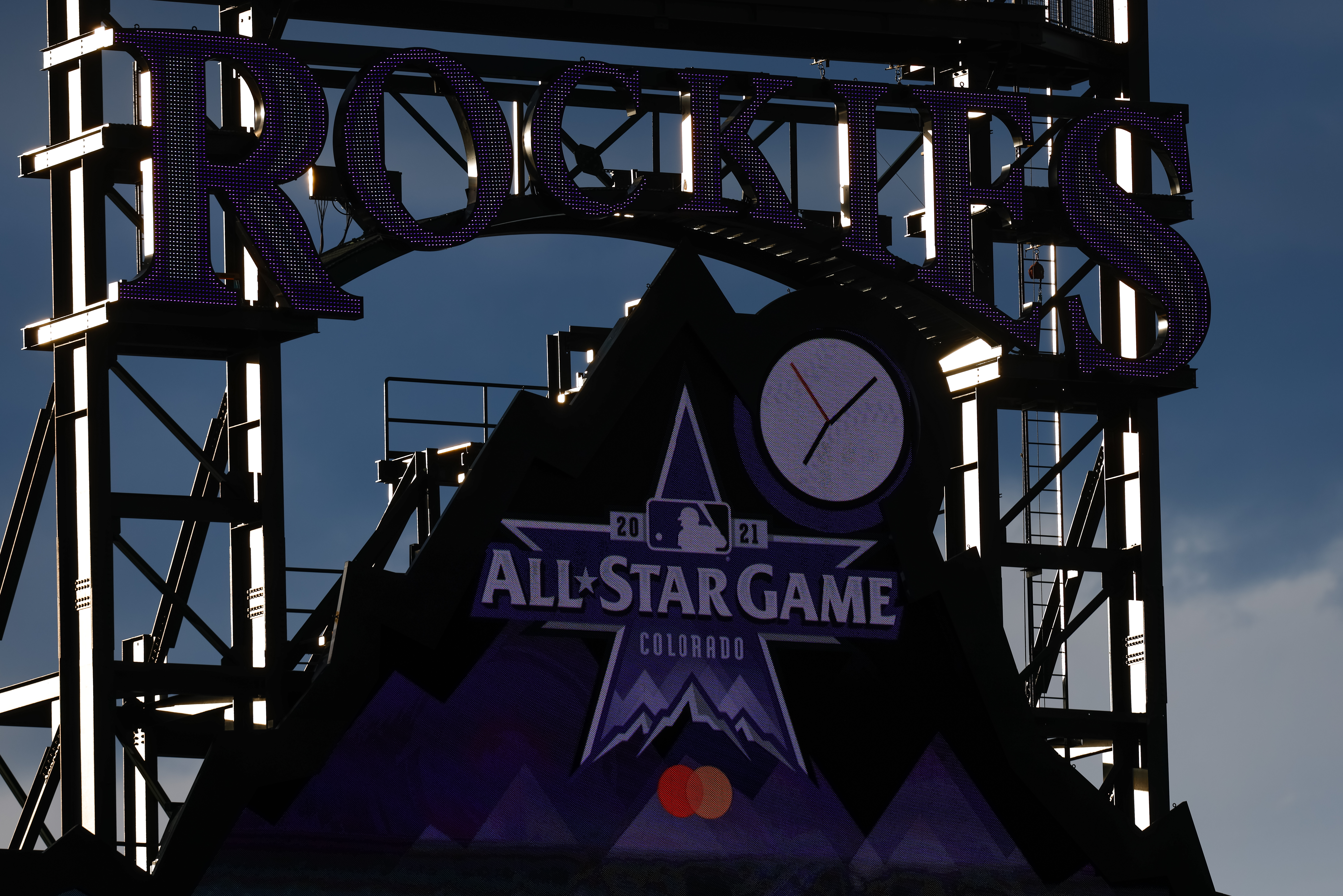 A general view of the scoreboard featuring the All-Star Game logo during a game between the Cincinnati Reds and Colorado Rockies at Coors Field on May 13, 2021 in Denver, Colorado.