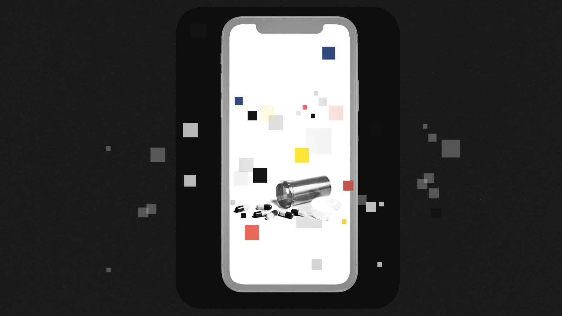 Photo illustration of a phone screen with a picture of a spilled pill bottle on it.