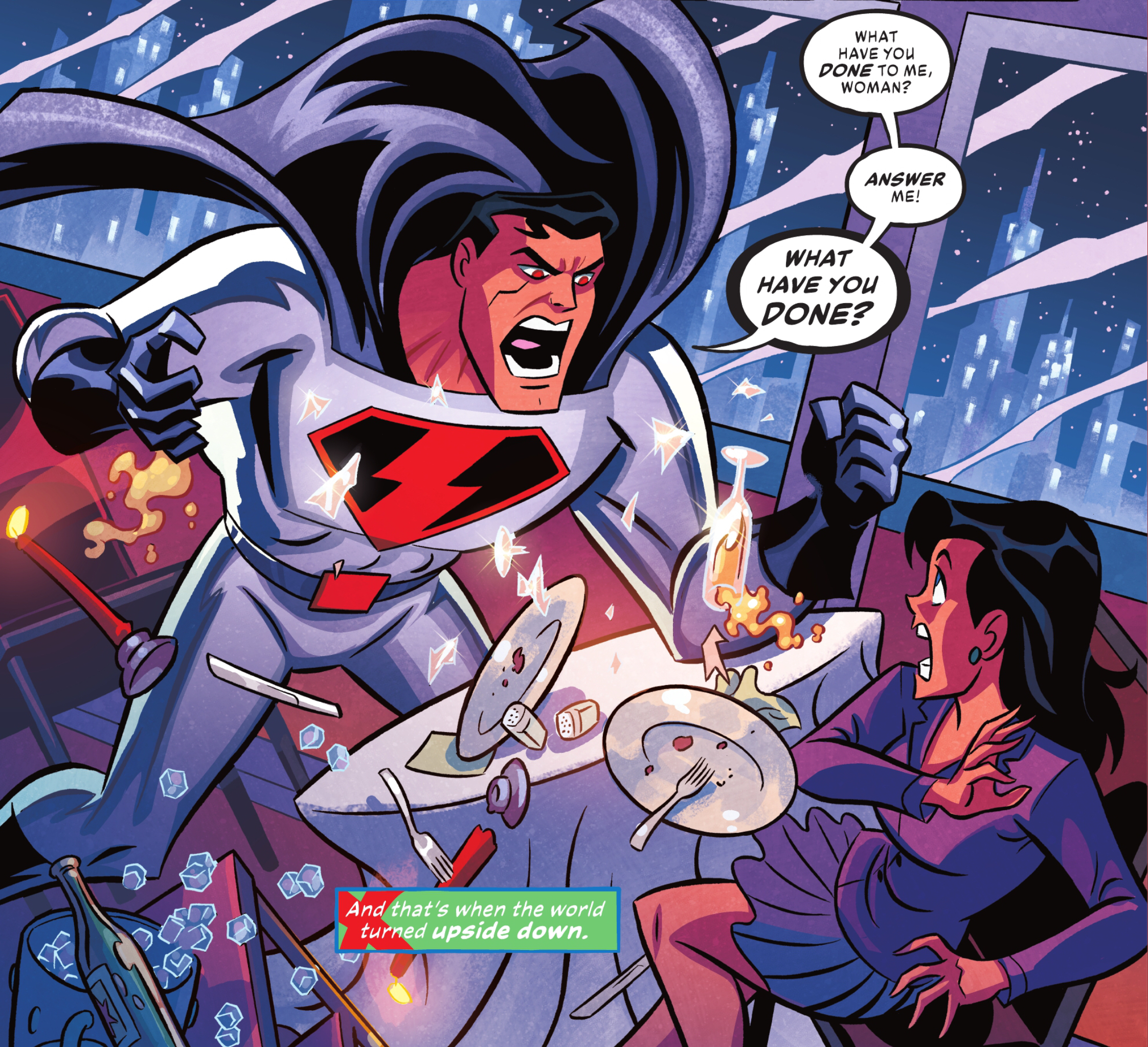 """Justice Lord Superman erupts in anger at Lois Lane, roaring """"What have you DONE to me, woman? ANSWER me!"""" in Justice League Infinity #1 (2021)."""