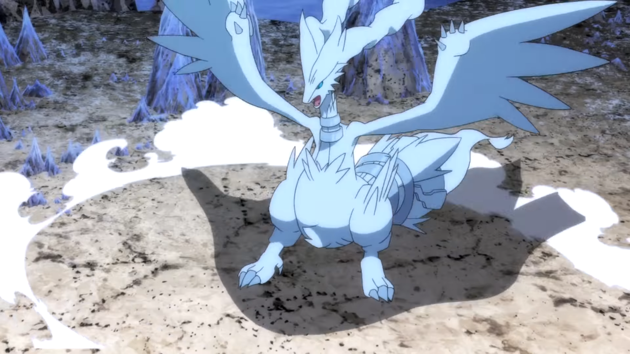 A Reshiram lifts its enormous wings up, creating a circle of dust around it