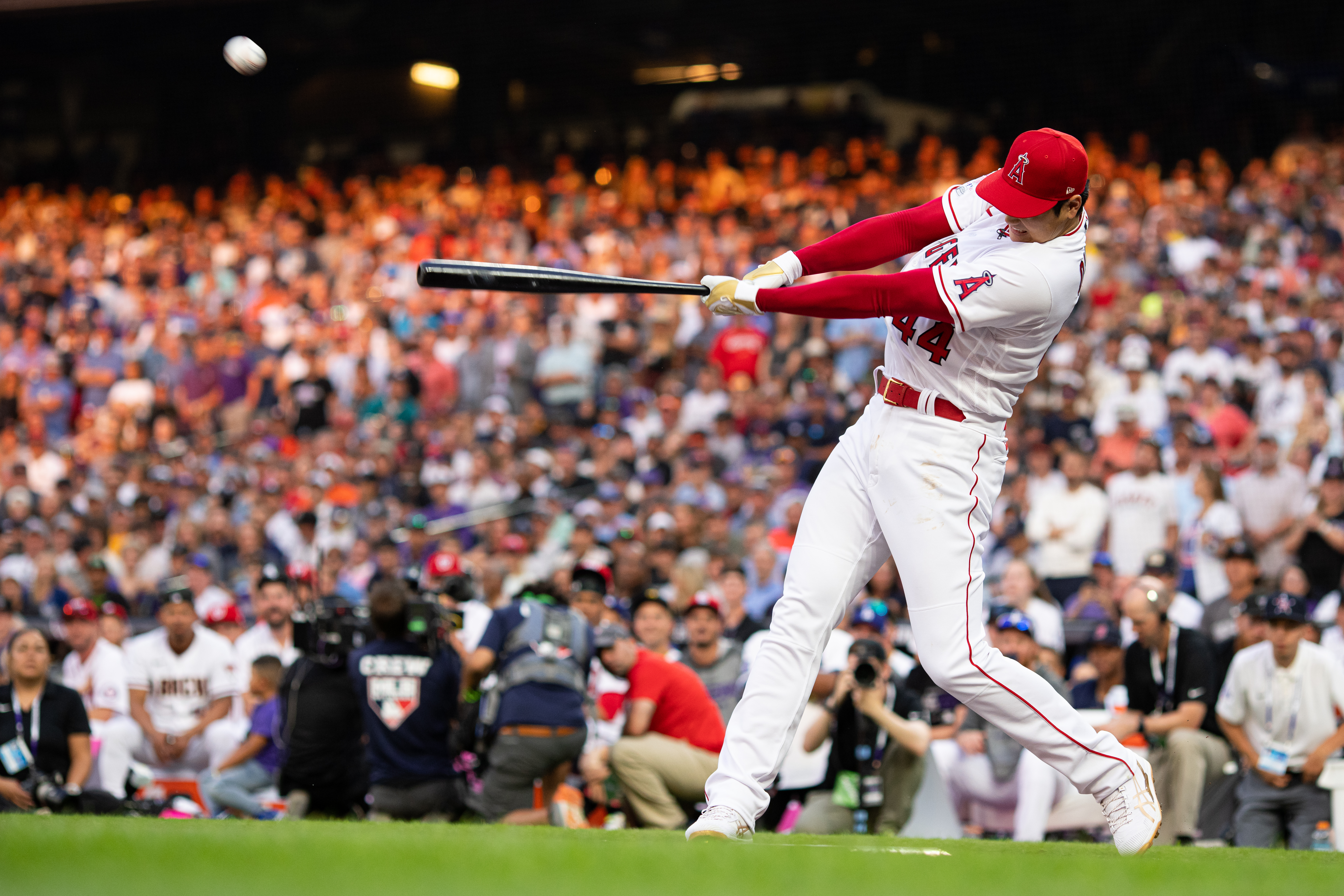 Shohei Ohtani #17 of the Los Angeles Angels (wearing #44 in honor of Hank Aaron) bats during the 2021 T-Mobile Home Run Derby at Coors Field on July 12, 2021 in Denver, Colorado.