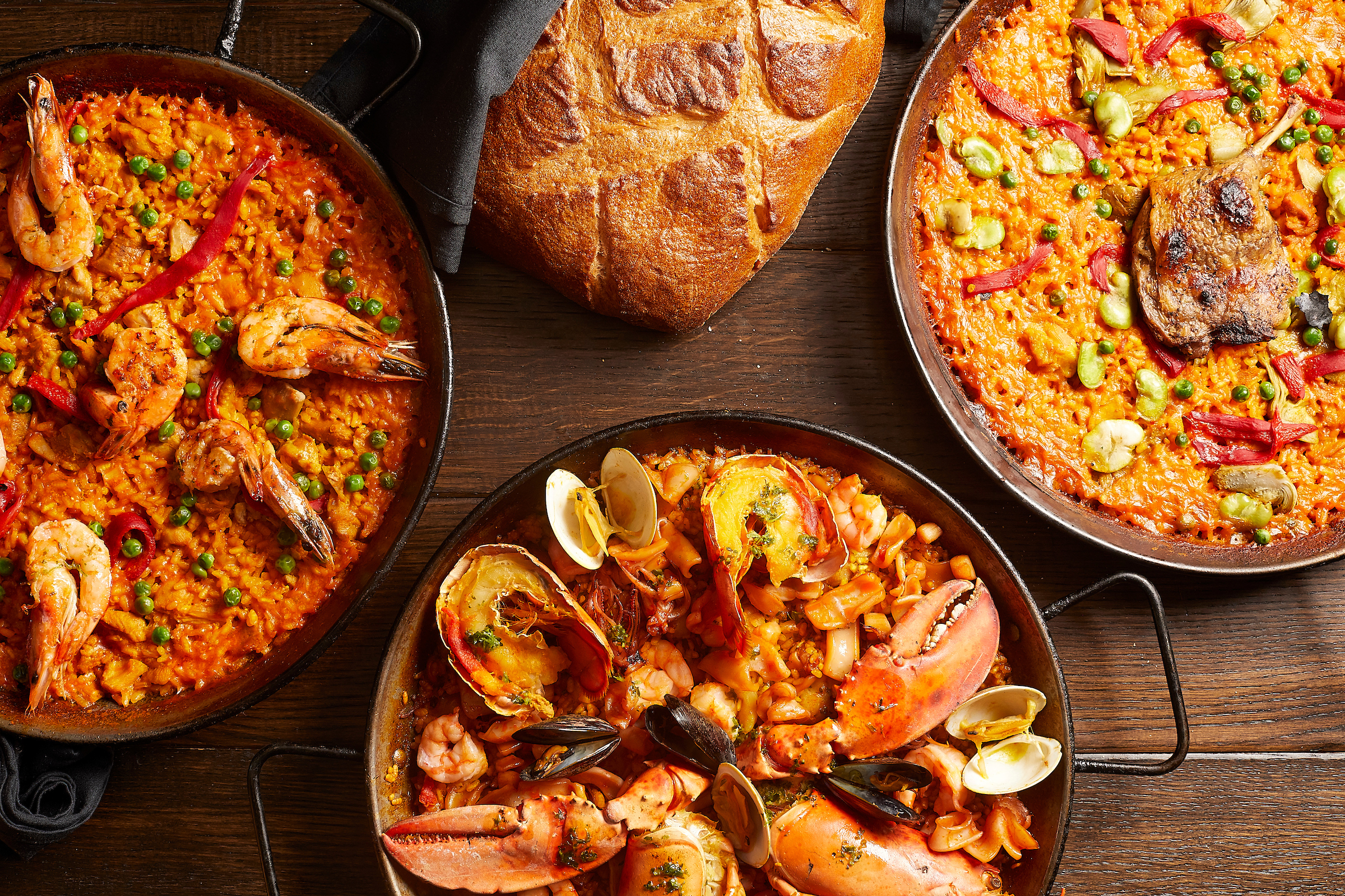 Paellas dishes at Bodegon serve two to three people.