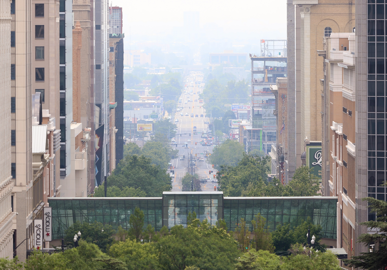 Smoke fills the Salt Lake Valley looking south on Main Street in Salt Lake City on Monday, July 12, 2021.