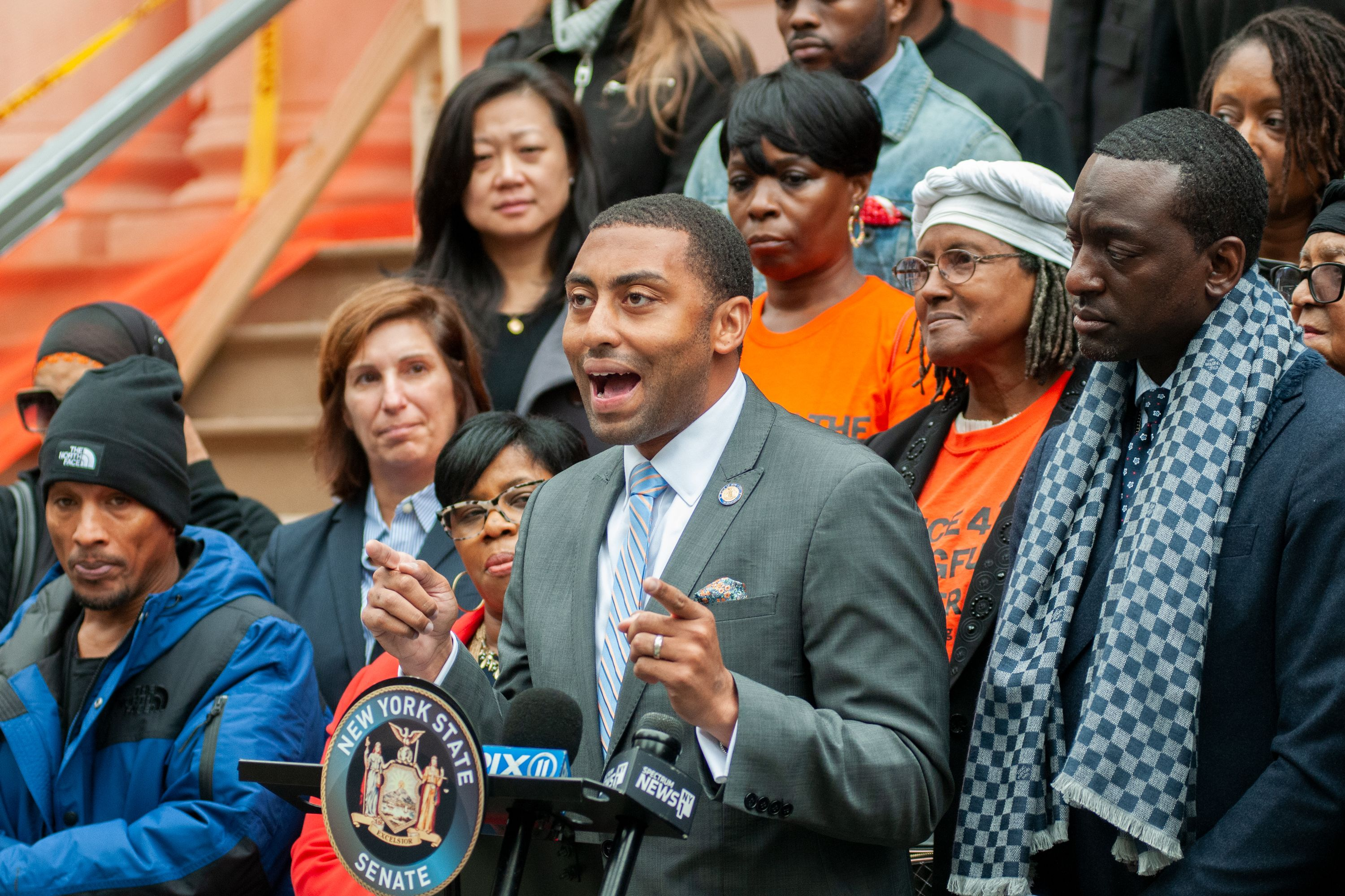 State Senator Jamaal Bailey (D-Bronx) speaks in support of a group of criminal justice reform bills during a rally at City Hall, Oct. 30, 2019.