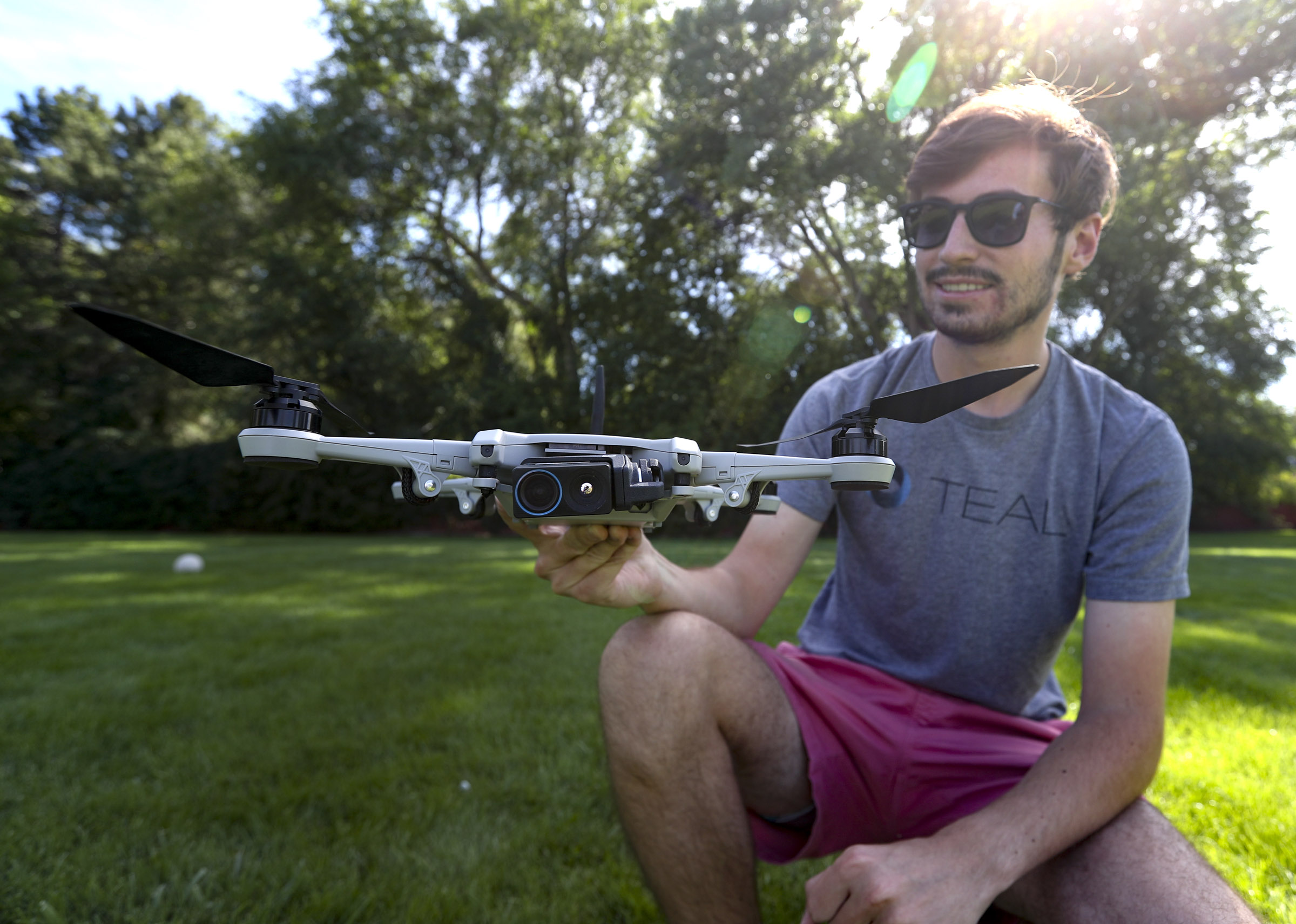 Teal Drones founder George Matus poses with the company's new Golden Eagle drone near the firm's offices in Holladay on Wednesday, Sept. 2, 2020.