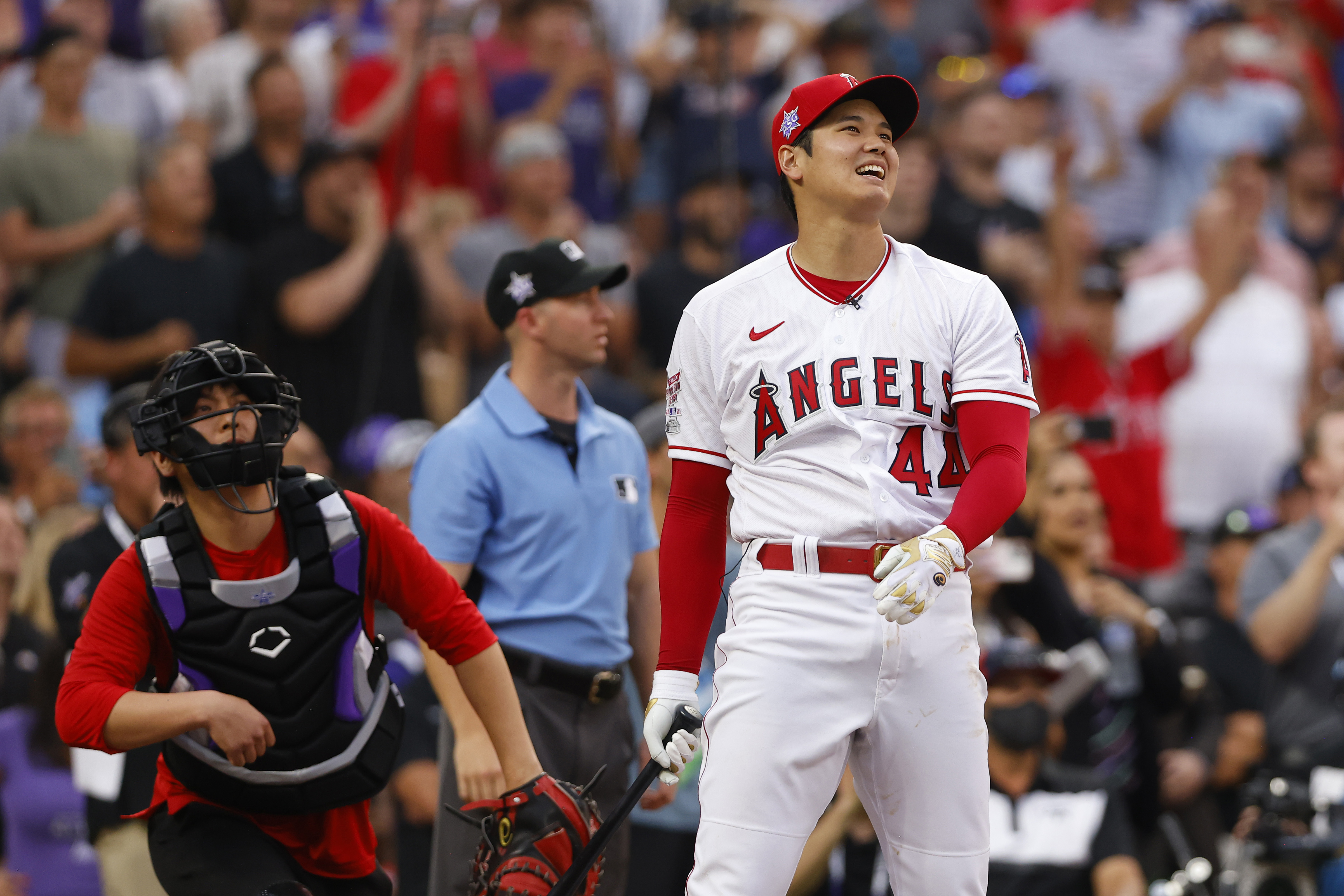 Shohei Ohtani #17 of the Los Angeles Angels reacts during the 2021 T-Mobile Home Run Derby at Coors Field on July 12, 2021 in Denver, Colorado.