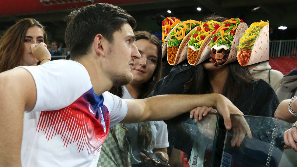 A photo of Harry Maguire looking at four Taco Bell tacos, in the context of a meme from the 2018 World Cup in which Maguire appears to be chatting to his fianceé Fern Hawkins