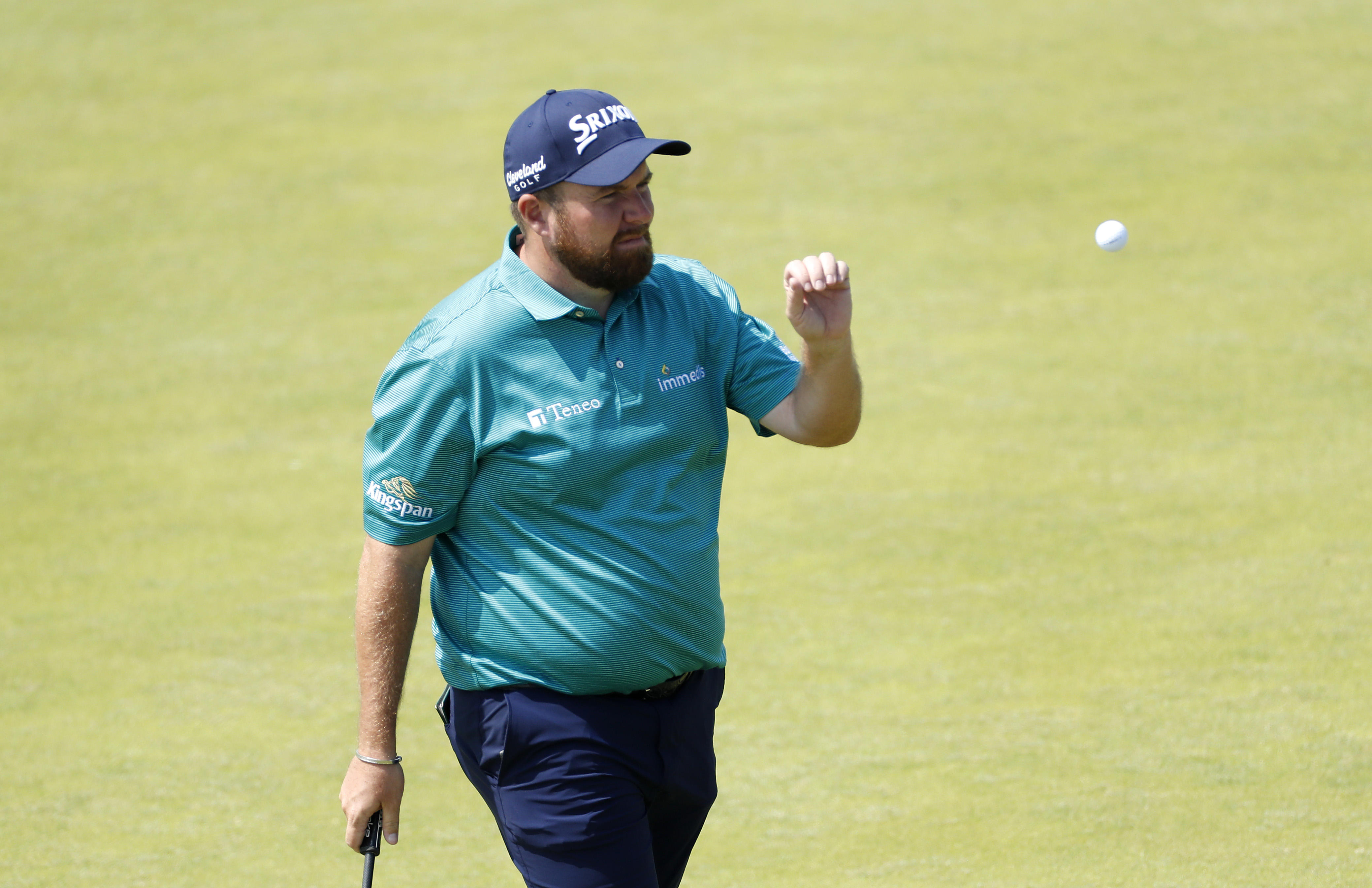 Shane Lowry of Ireland walks off the 3rd green during a practice round ahead of The 149th Open at Royal St George's Golf Club on July 13, 2021 in Sandwich, England.