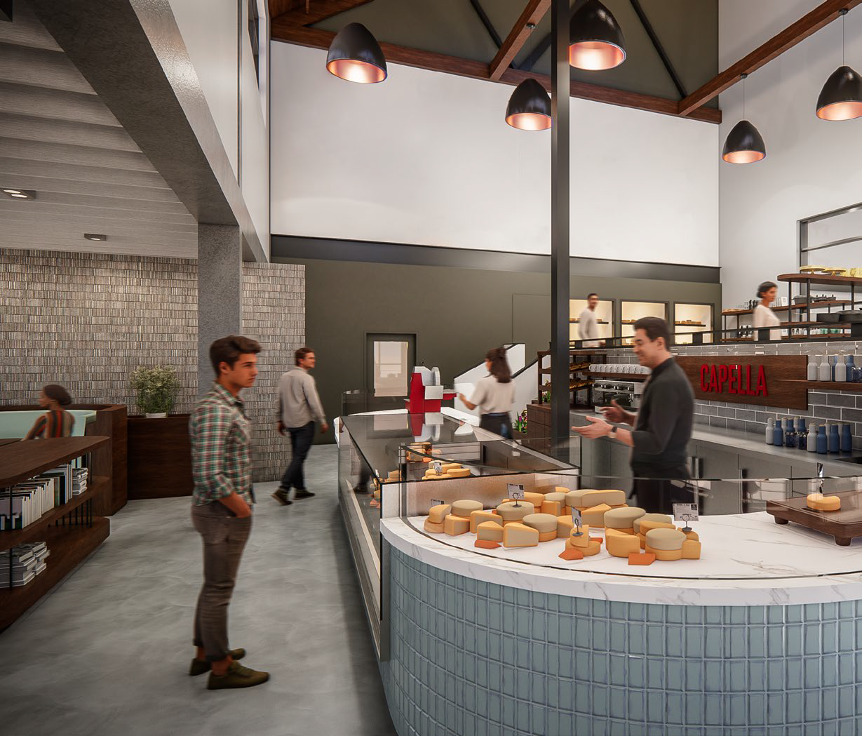Rendering of the inside of Capella Cheese in northeast Atlanta. A man stands at the counter looking over cheese in the glass case while a salesperson in a black shirt and pants stands behind the counter