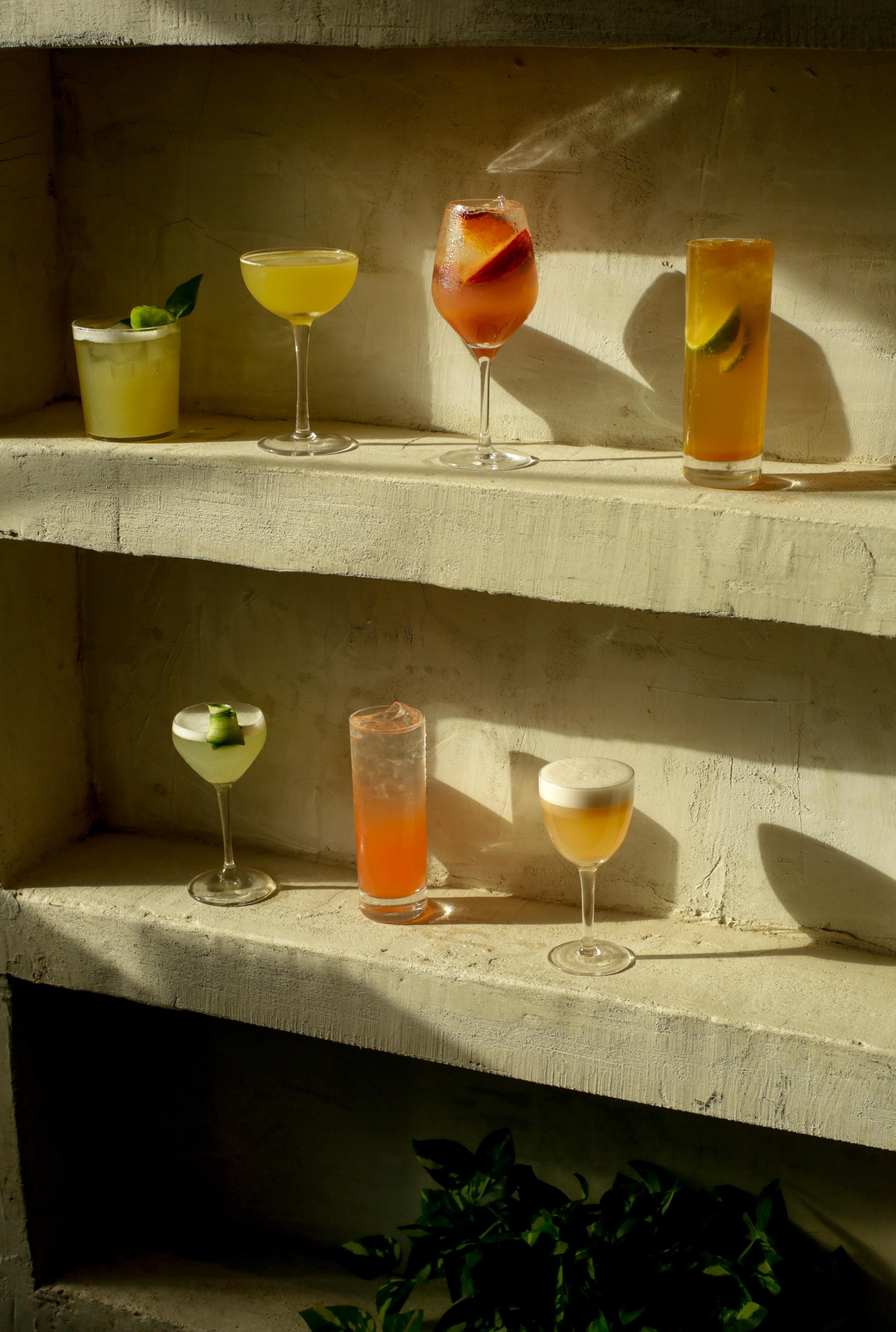 cocktails on shelf