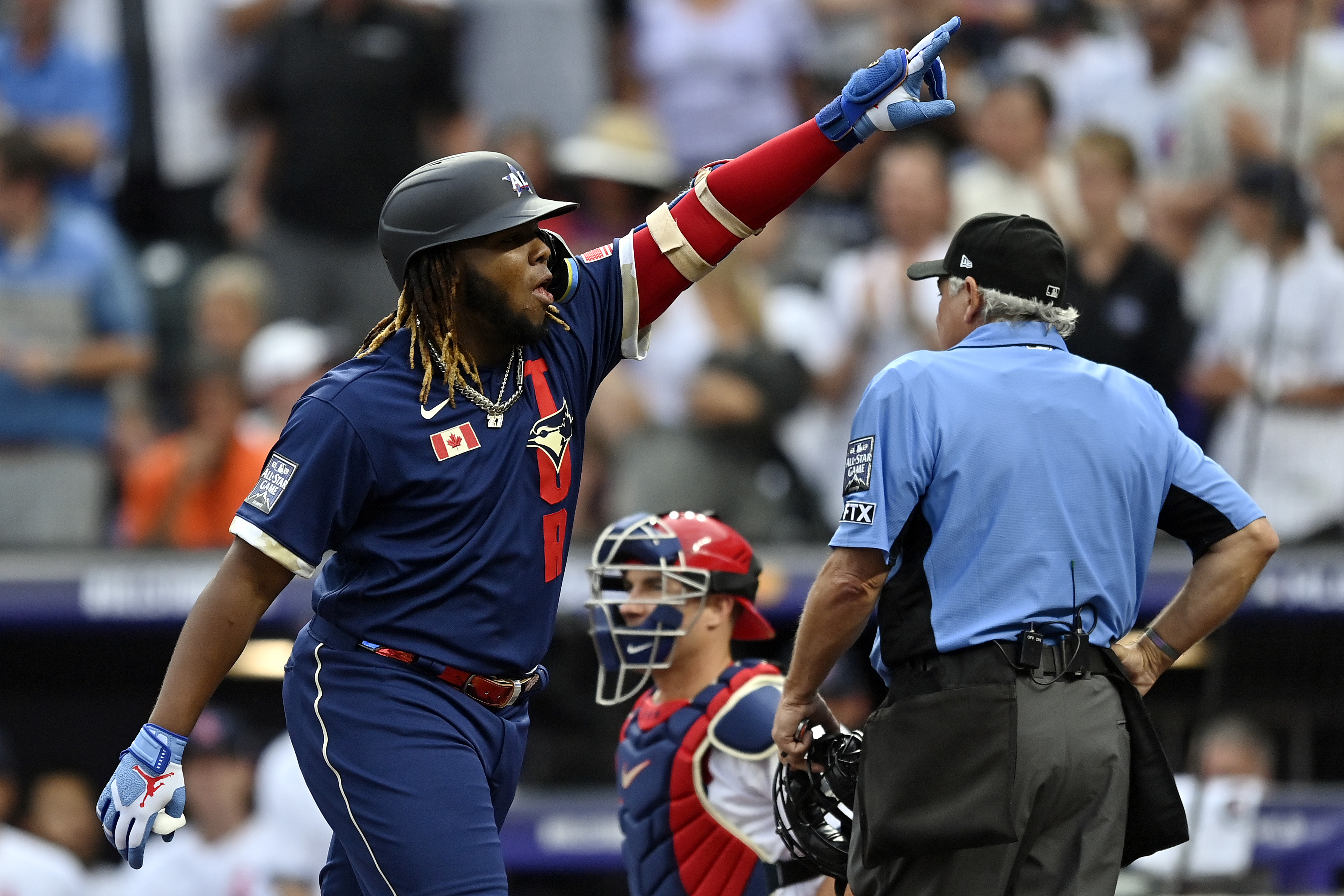 Vladimir Guerrero Jr. #27 of the Toronto Blue Jays celebrates after hitting a home run in the third inning during the 91st MLB All-Star Game at Coors Field on July 13, 2021 in Denver, Colorado.