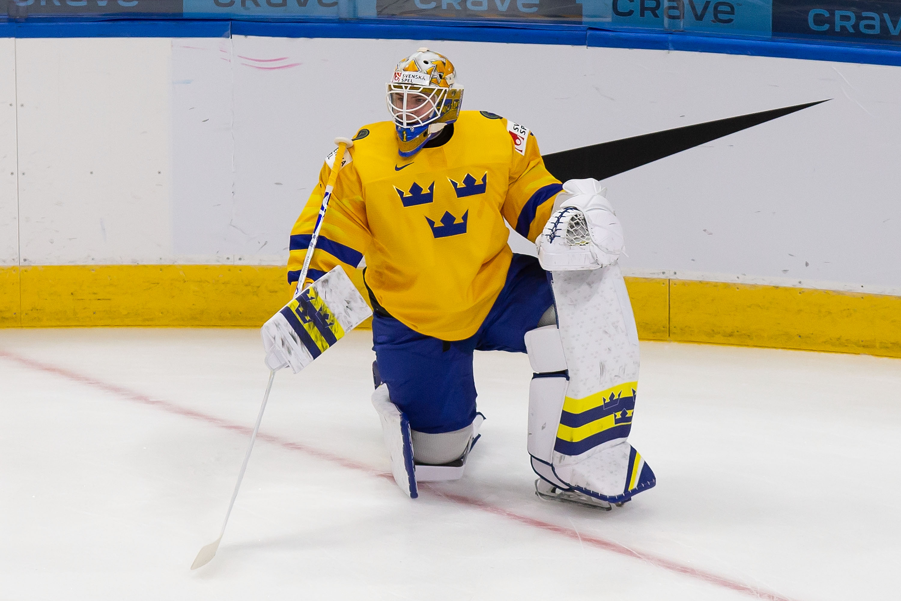 Goaltender Jesper Wallstedt #1 of Sweden skates against the Czech Republic during the 2021 IIHF World Junior Championship at Rogers Place on December 26, 2020 in Edmonton, Canada.