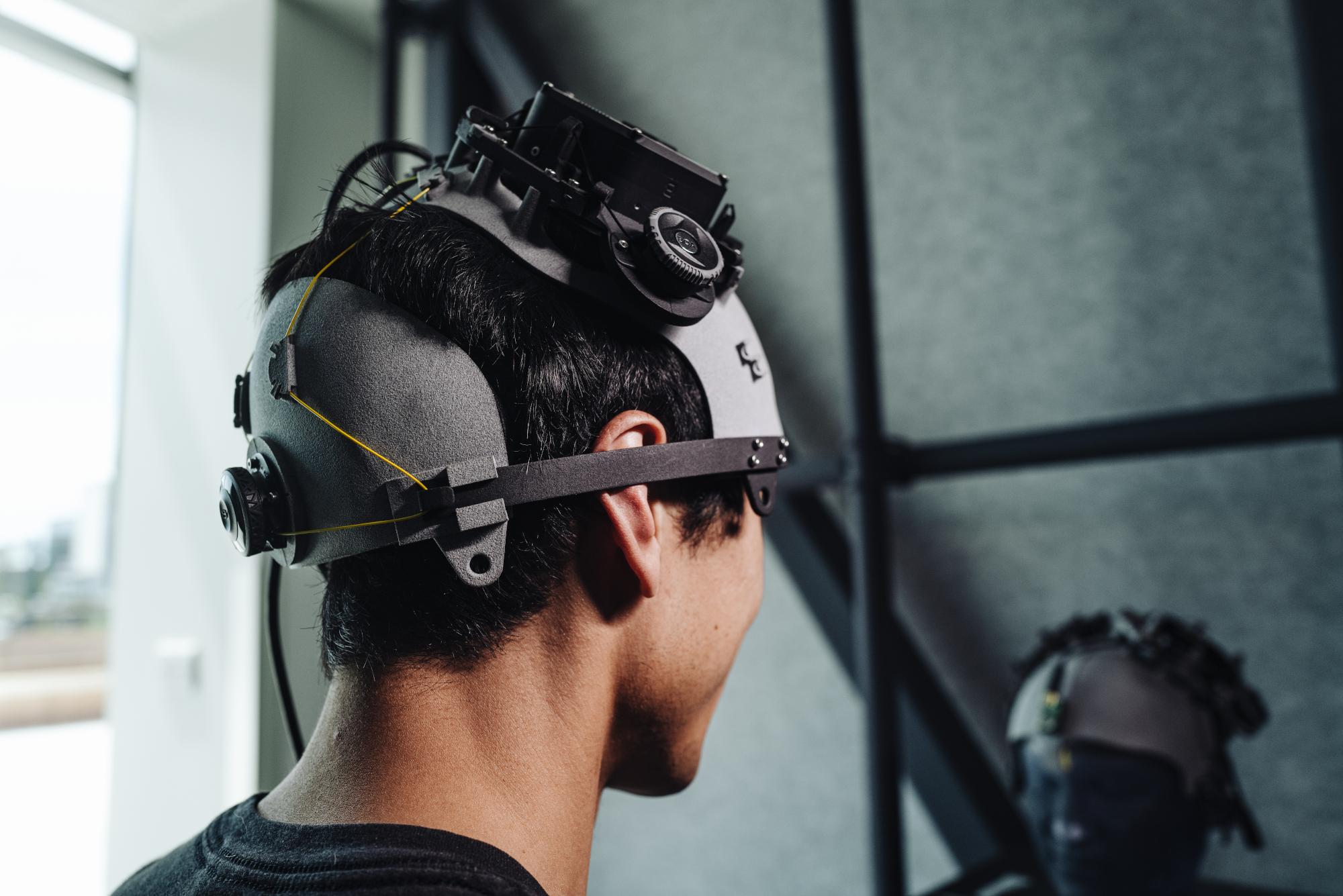 Facebook's prototype brain-computer interface headset.