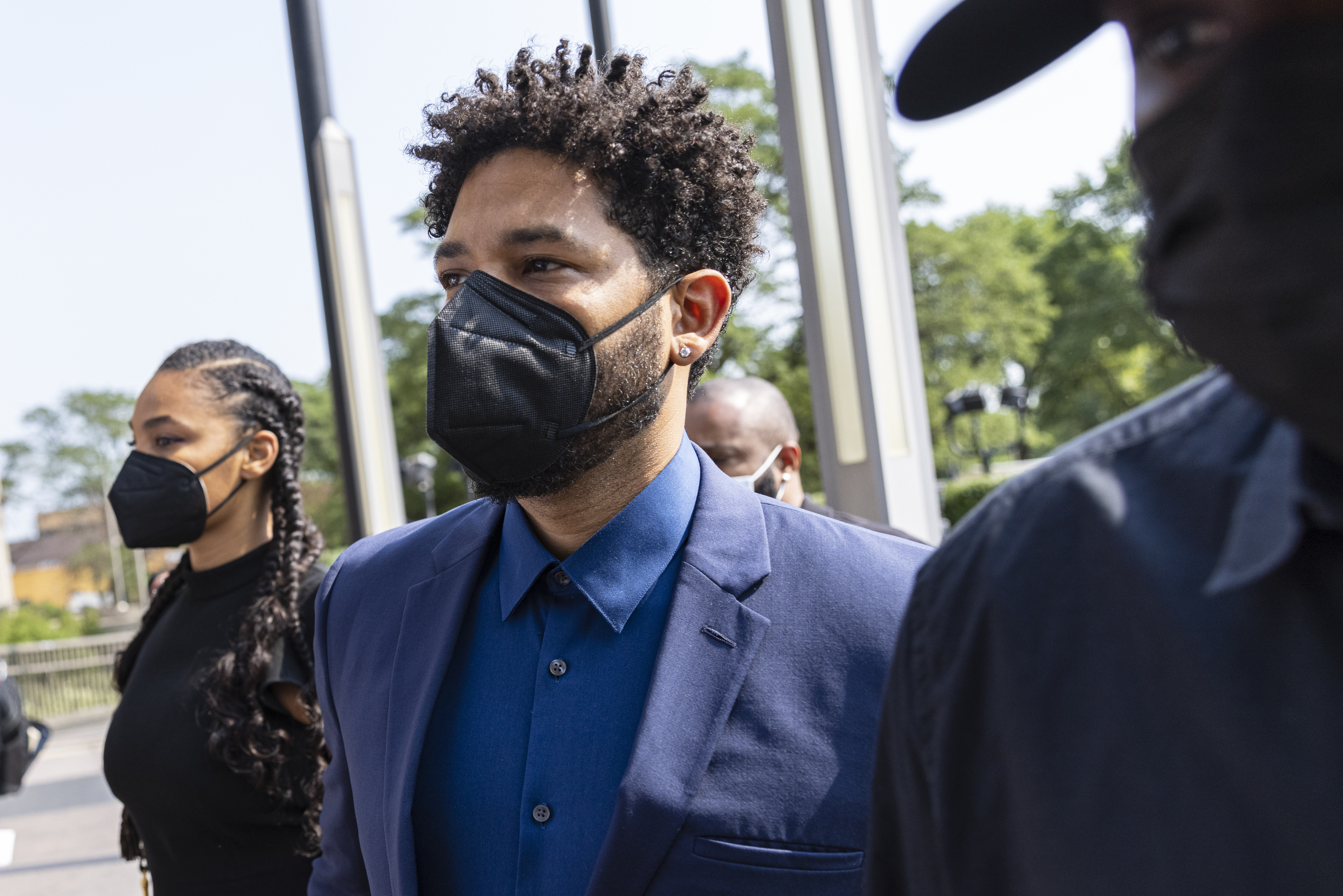 Jussie Smollett arrives Wednesday morning at the Leighton Criminal Courthouse in Little Village.