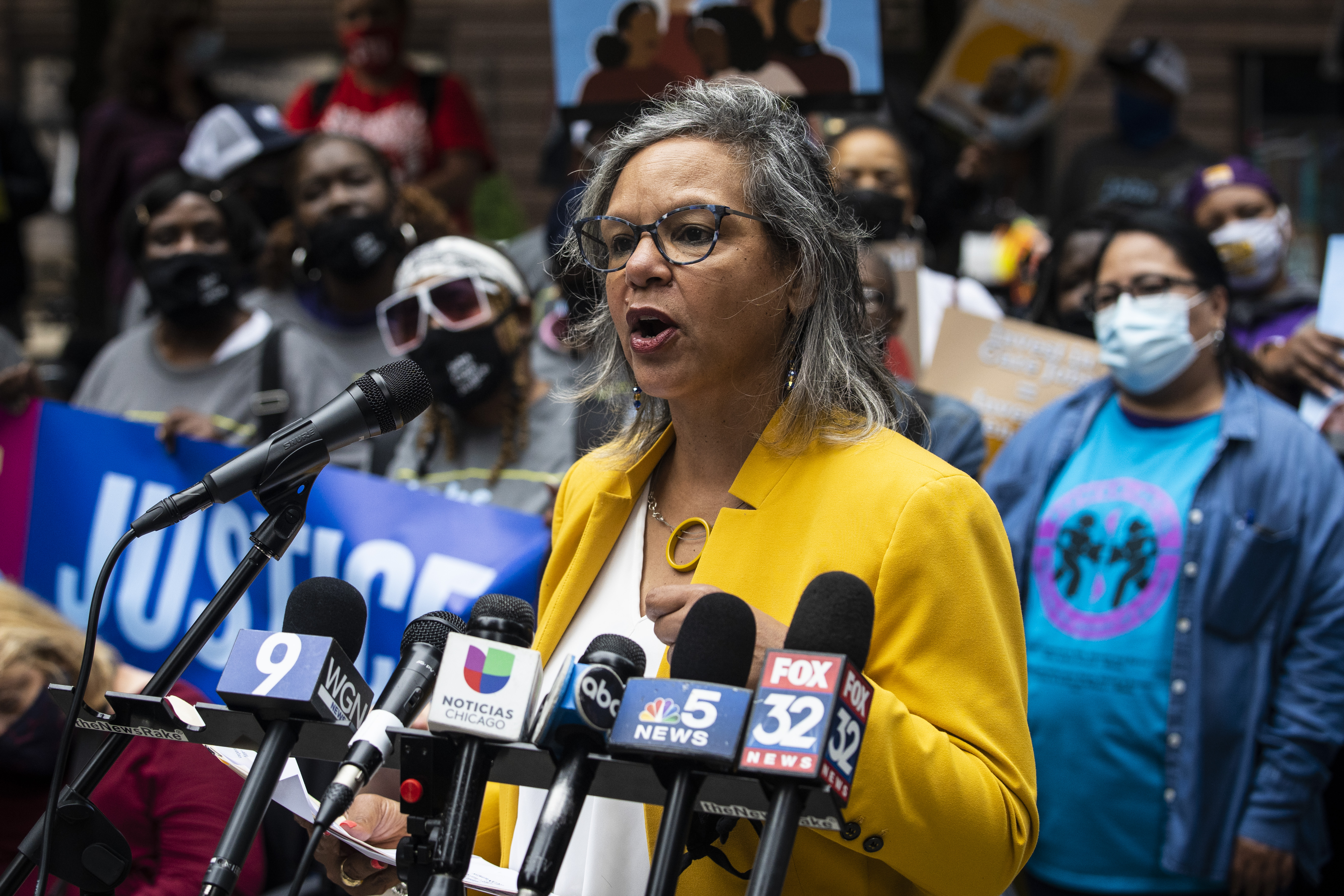 U.S. Rep. Robin Kelly speaks at a rally for home care workers represented by the Service Employees International Union rally in Federal Plaza on Tuesday.