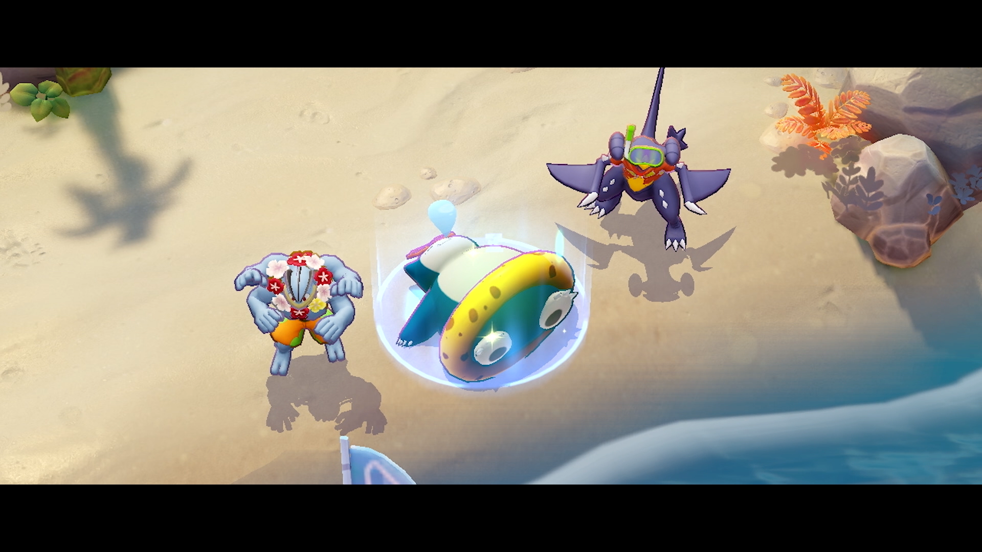 snorlax laying on a beach in Pokemon unite