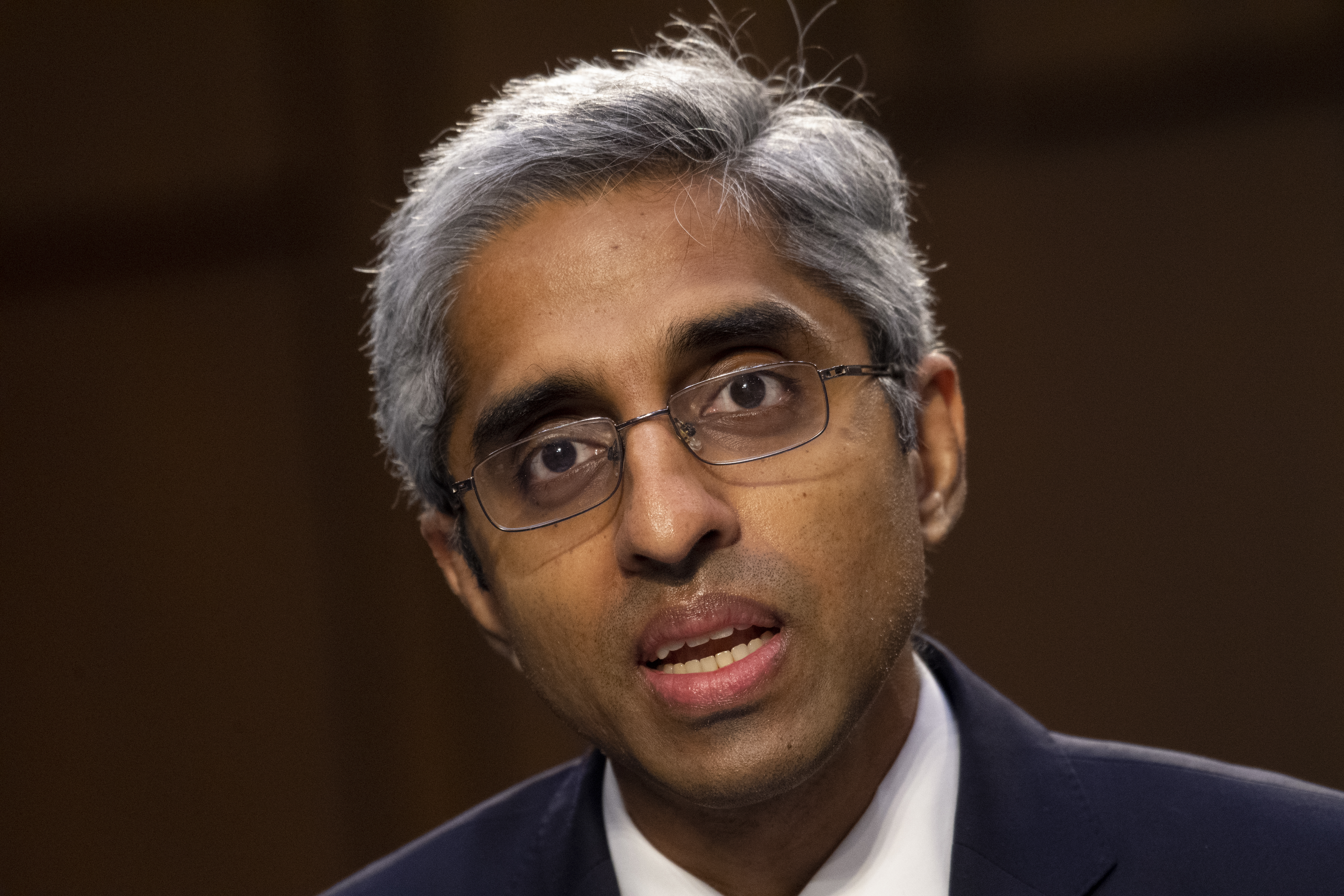 In this Feb. 25, 2021 file photo, Vivek Murthy testifies before the Senate Health, Education, Labor, and Pensions committee on Capitol Hill in Washington.
