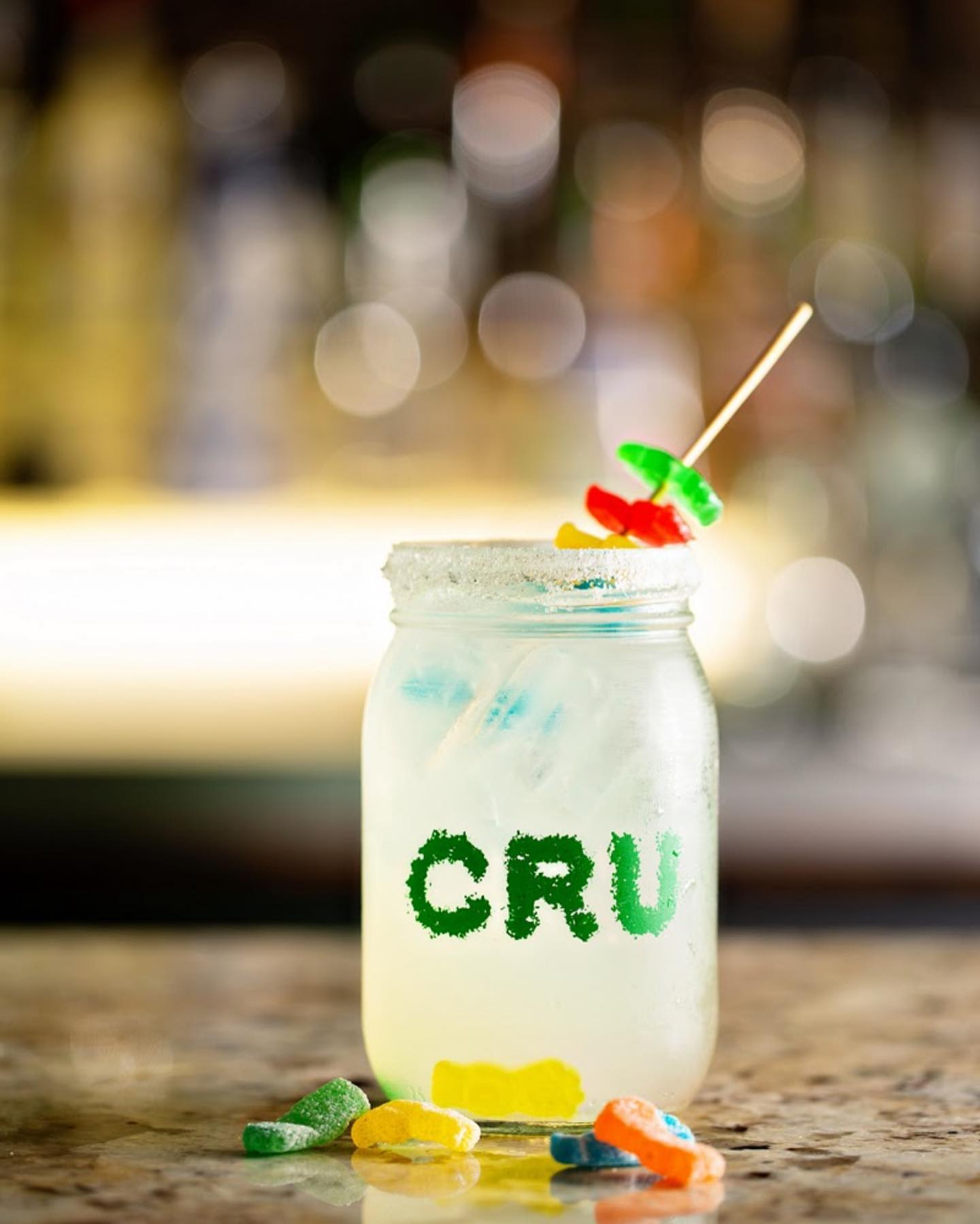 A drink and gummies from Cru Hemp Lounge