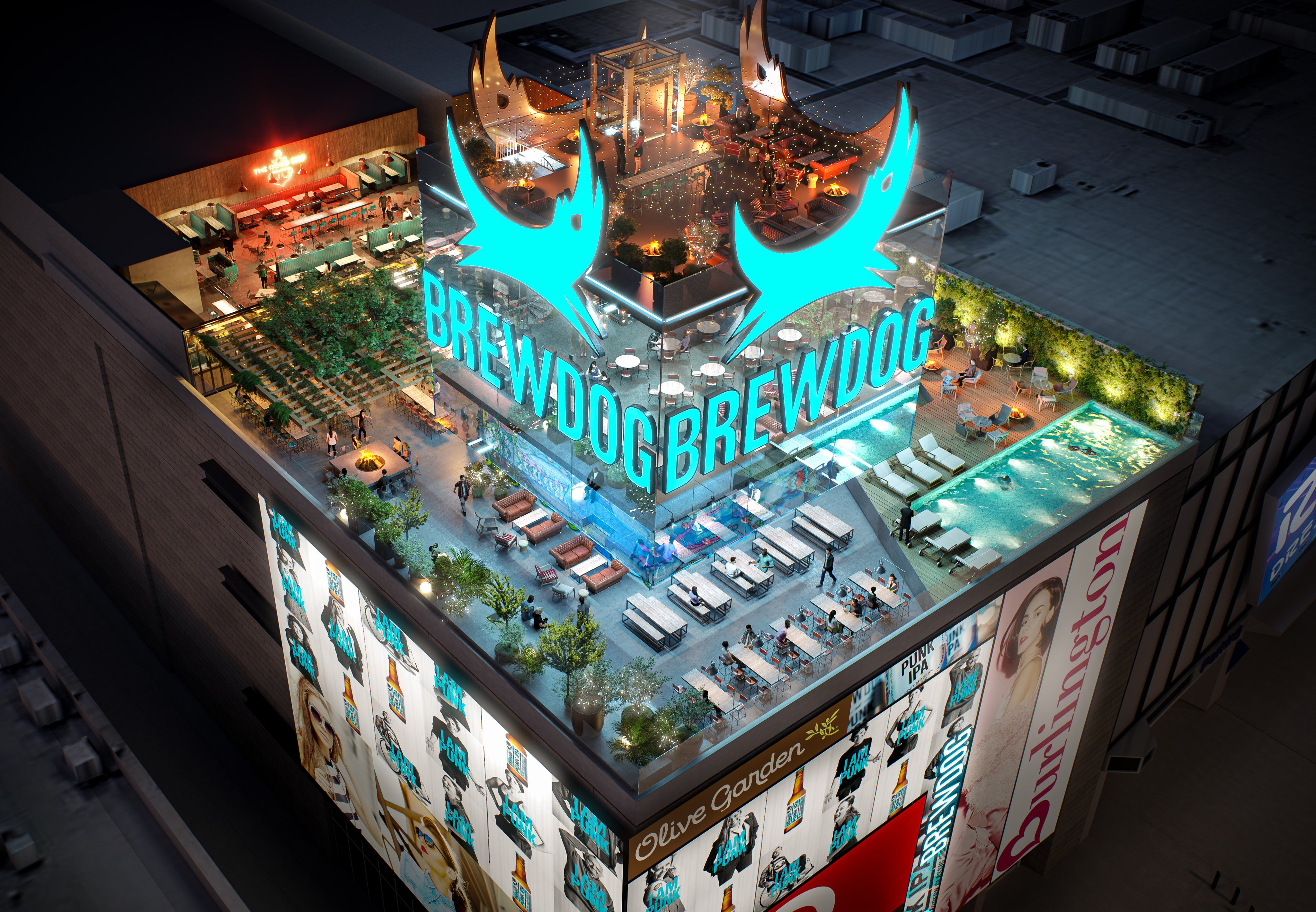 Rendering of the BrewDog, rooftop brewery, bar, restaurant and entertainment complex, headed to the Strip.