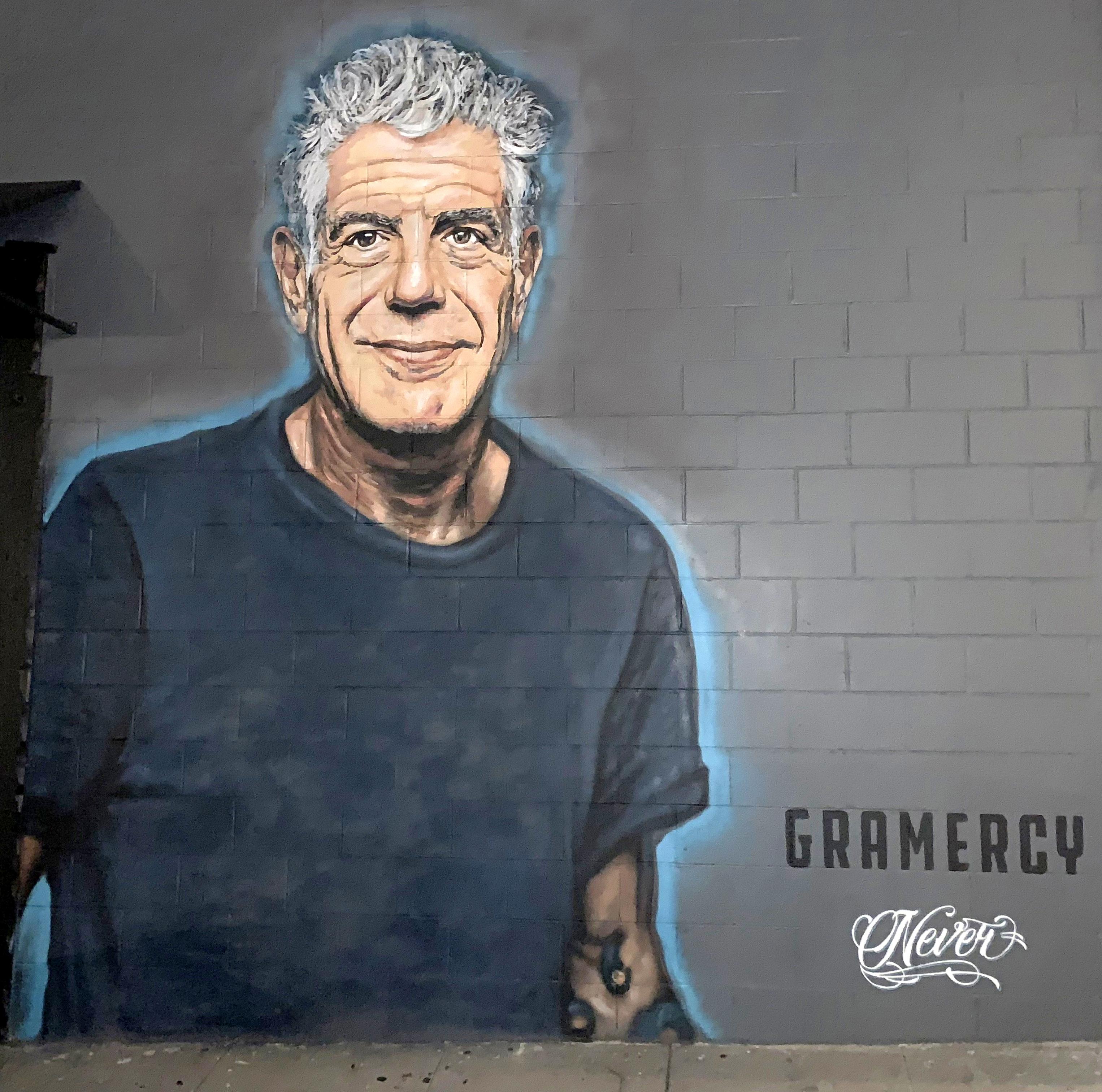 Anthony Bourdain Mural by Artist Jonas Never