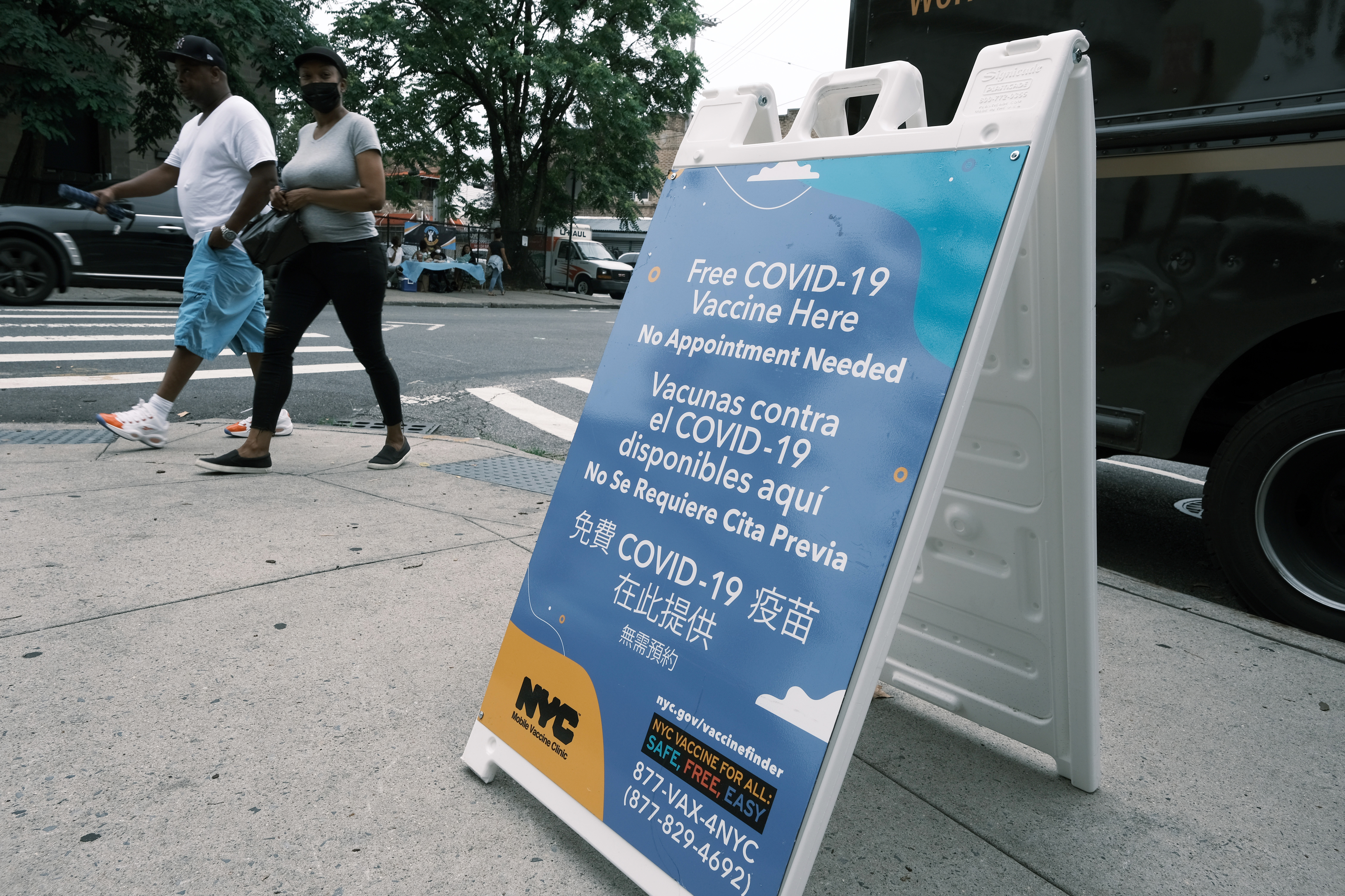A city run vaccination site stands in a Brooklyn neighborhood which is witnessing a rise in COVID-19 cases on July 13, 2021 in New York City.
