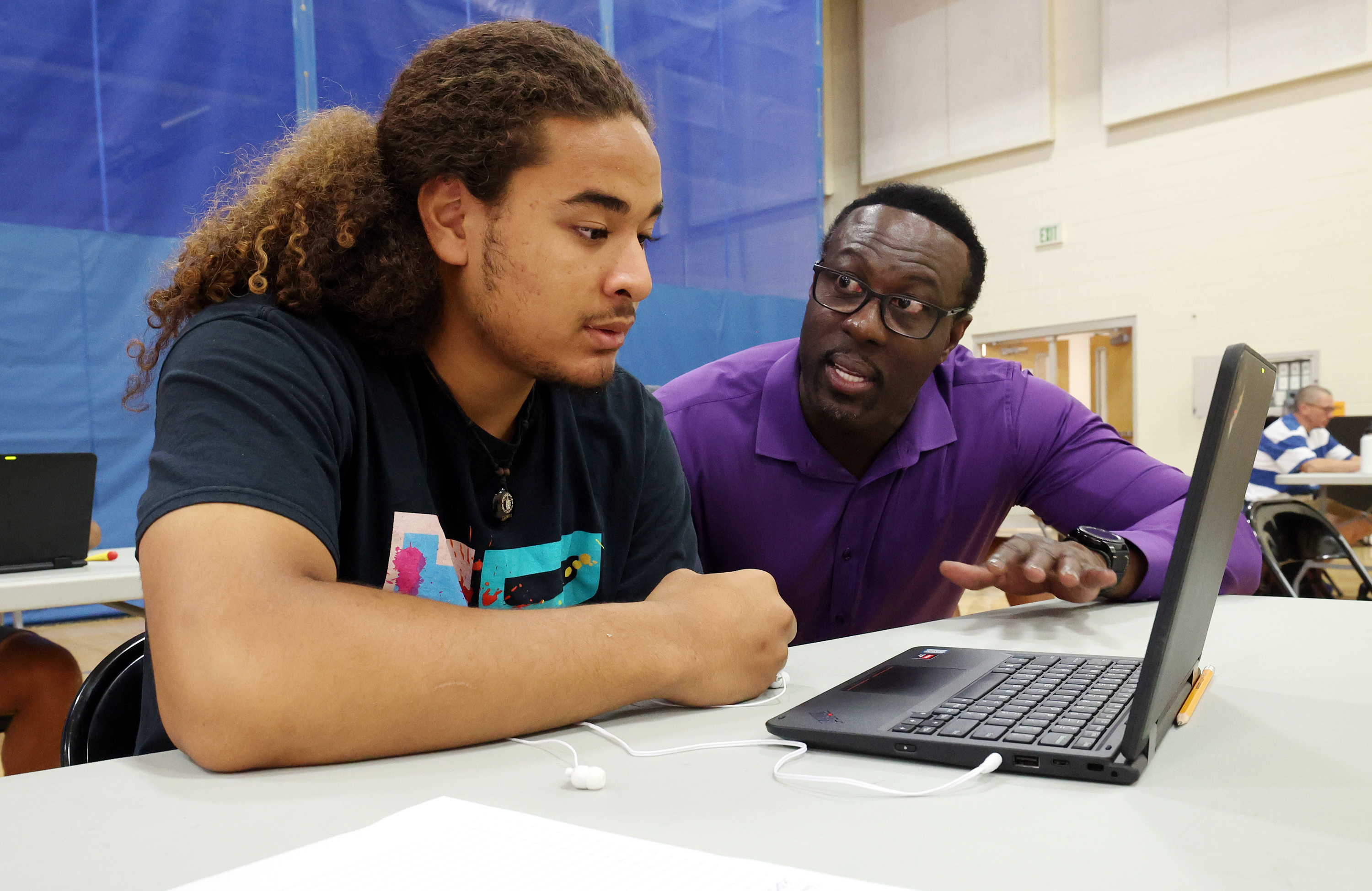 West High School student Mani Havea, left, talks with Timothy Gadson, incoming Salt Lake City School District superintendent, as Gadson tours the school in Salt Lake City on Tuesday, June 29, 2021. Gadson will take the helm of the district in July.