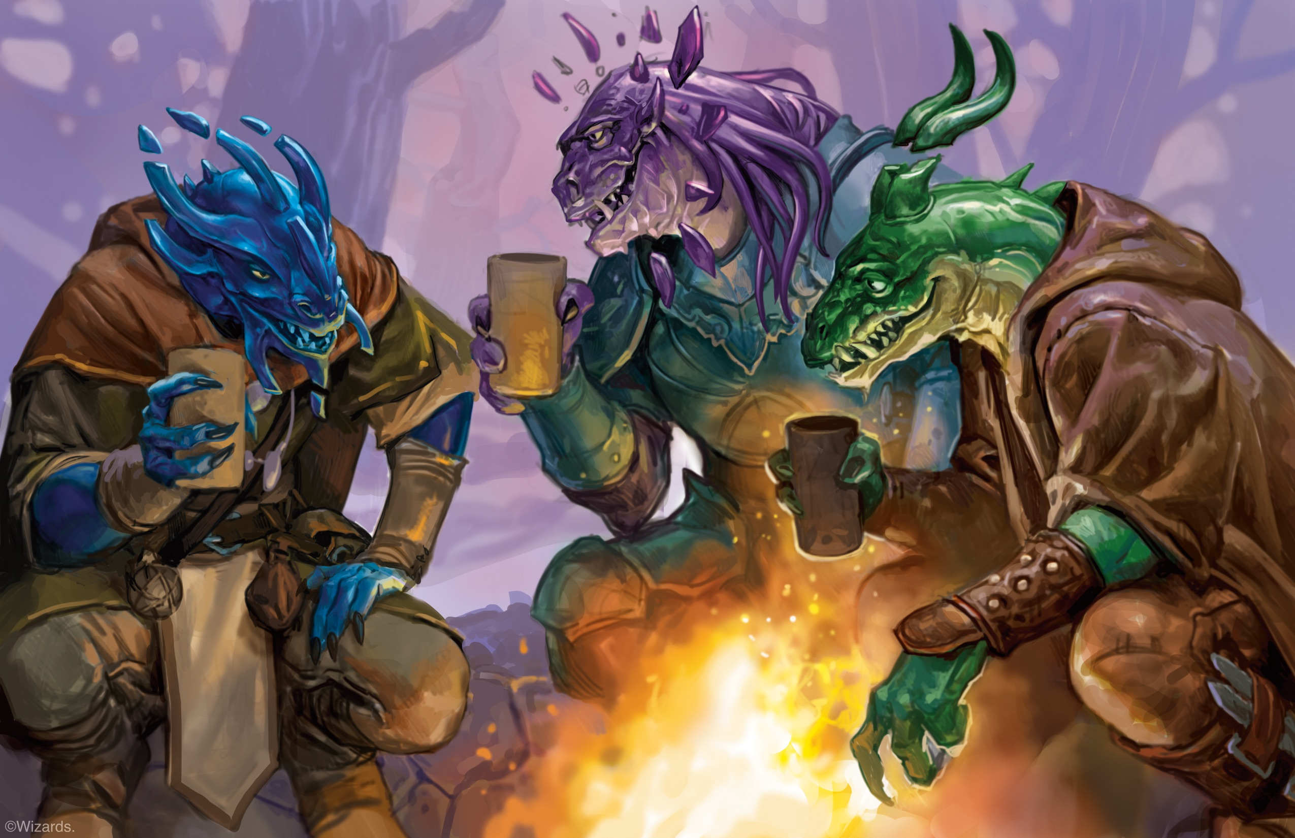 Three gem Dragonborn sit at a fire drinking and laughing in an illustration from Fizban's Treasury of Dragons