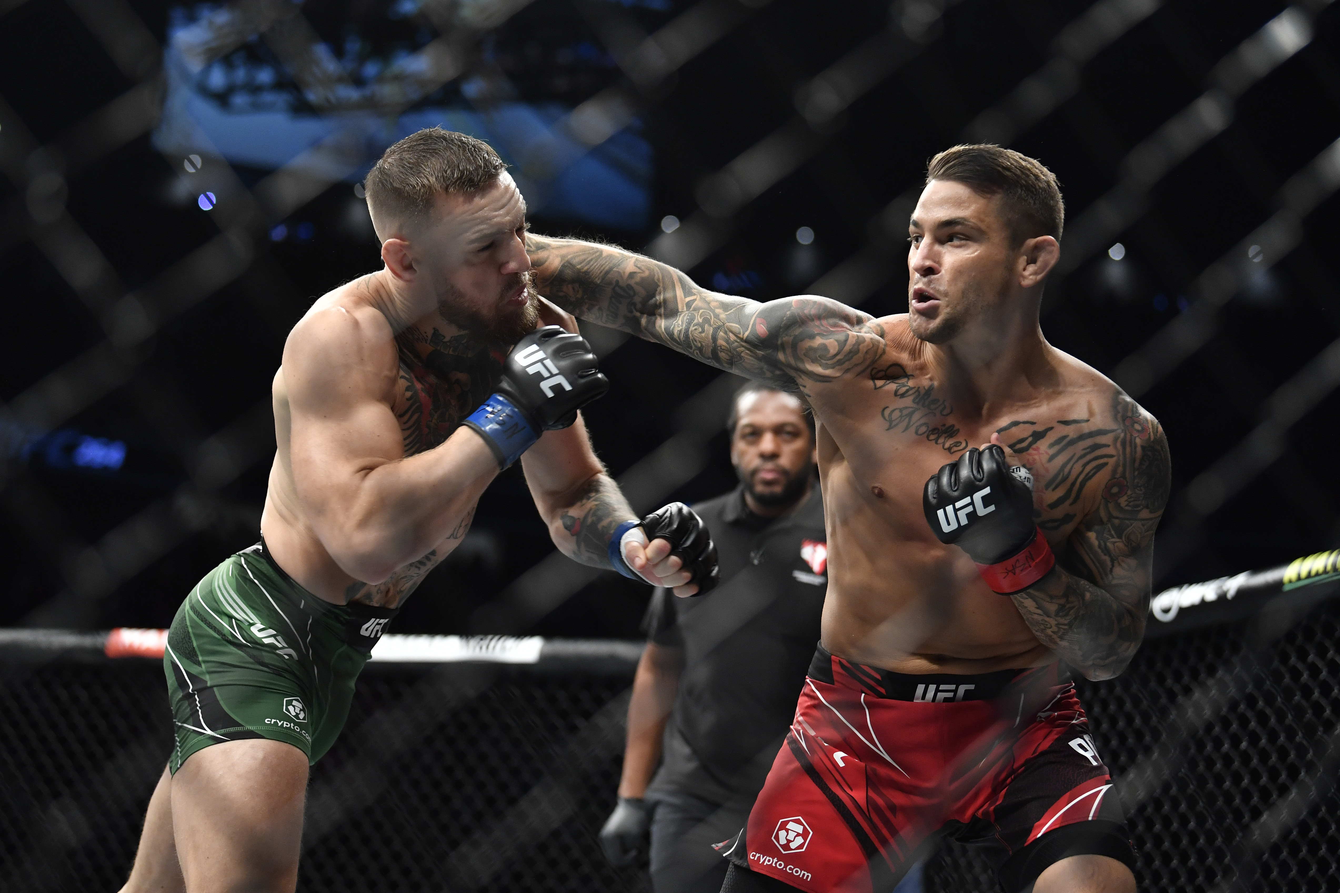 Dustin Poirier during his third fight with Conor McGregor at UFC 264.