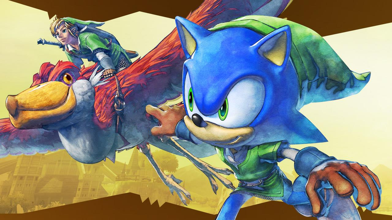 Artwork of Sonic the Hedgehog and Link on a Loftwing in the style of The Legend of Zelda: Skyward Sword