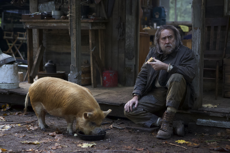 Nicolas Cage and a pig.