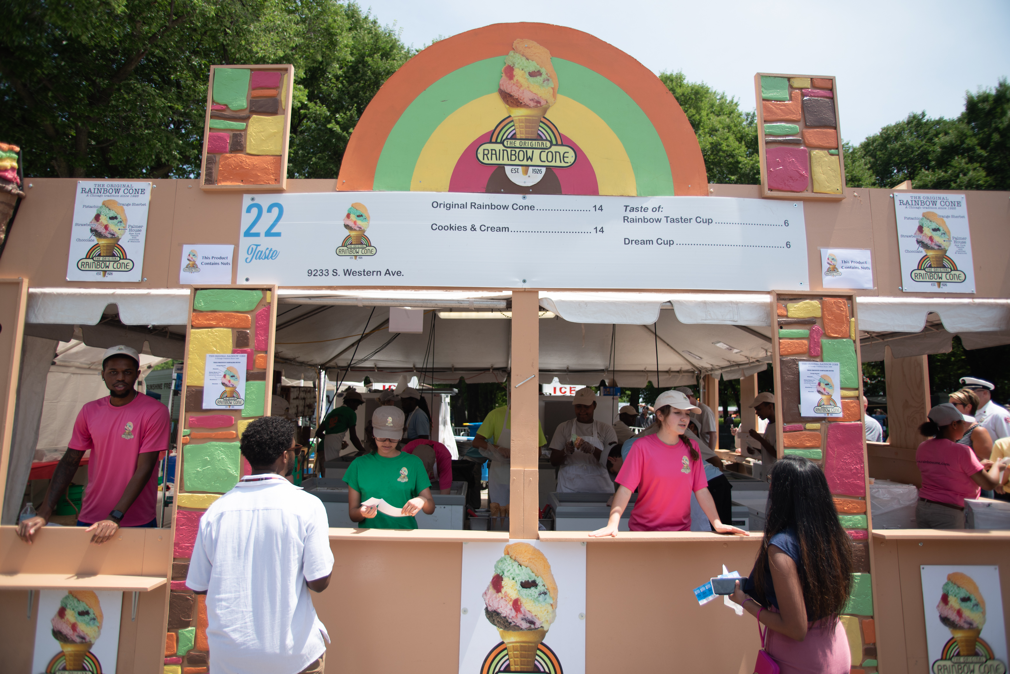 People being served at Rainbow Cone's stand at Taste of Chicago on July 11, 2018.