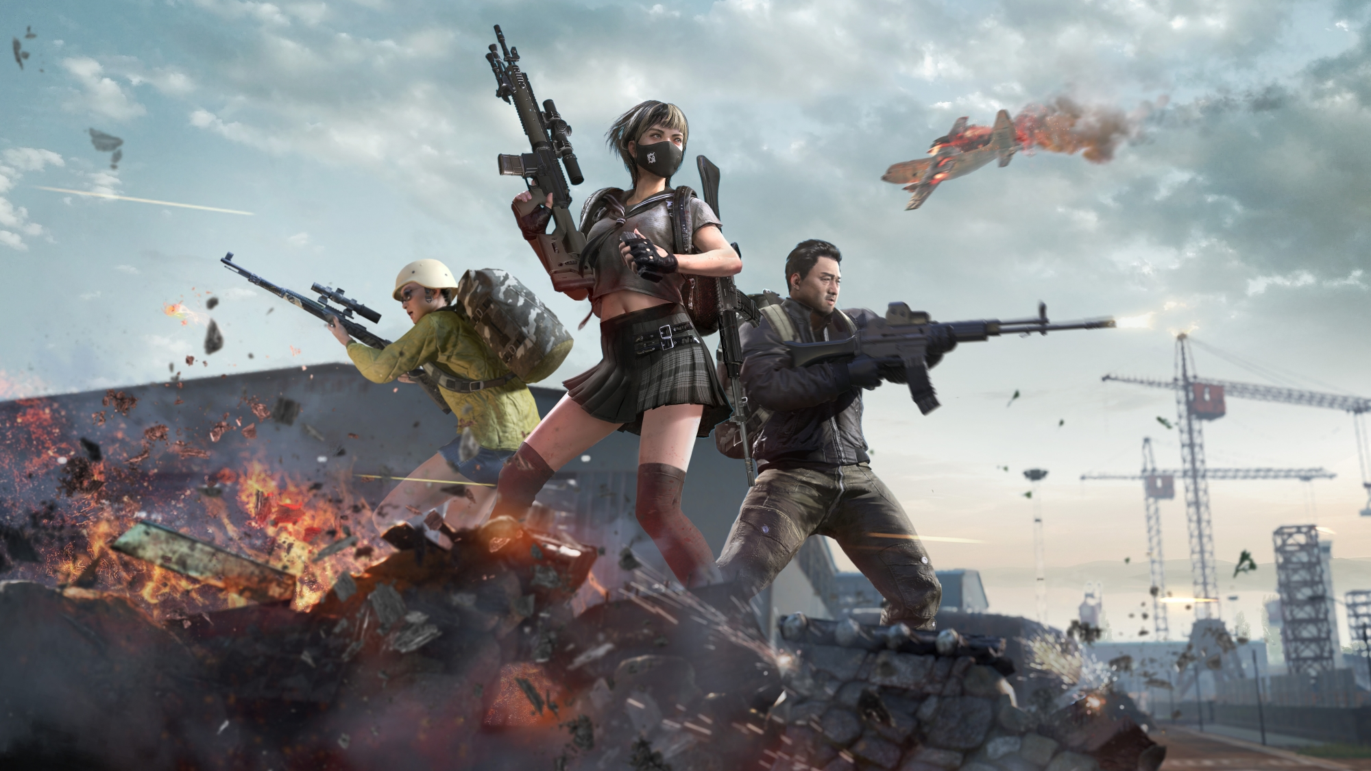 Key art from PUBG: Battlegrounds of several players fighting in the Korean Taego map