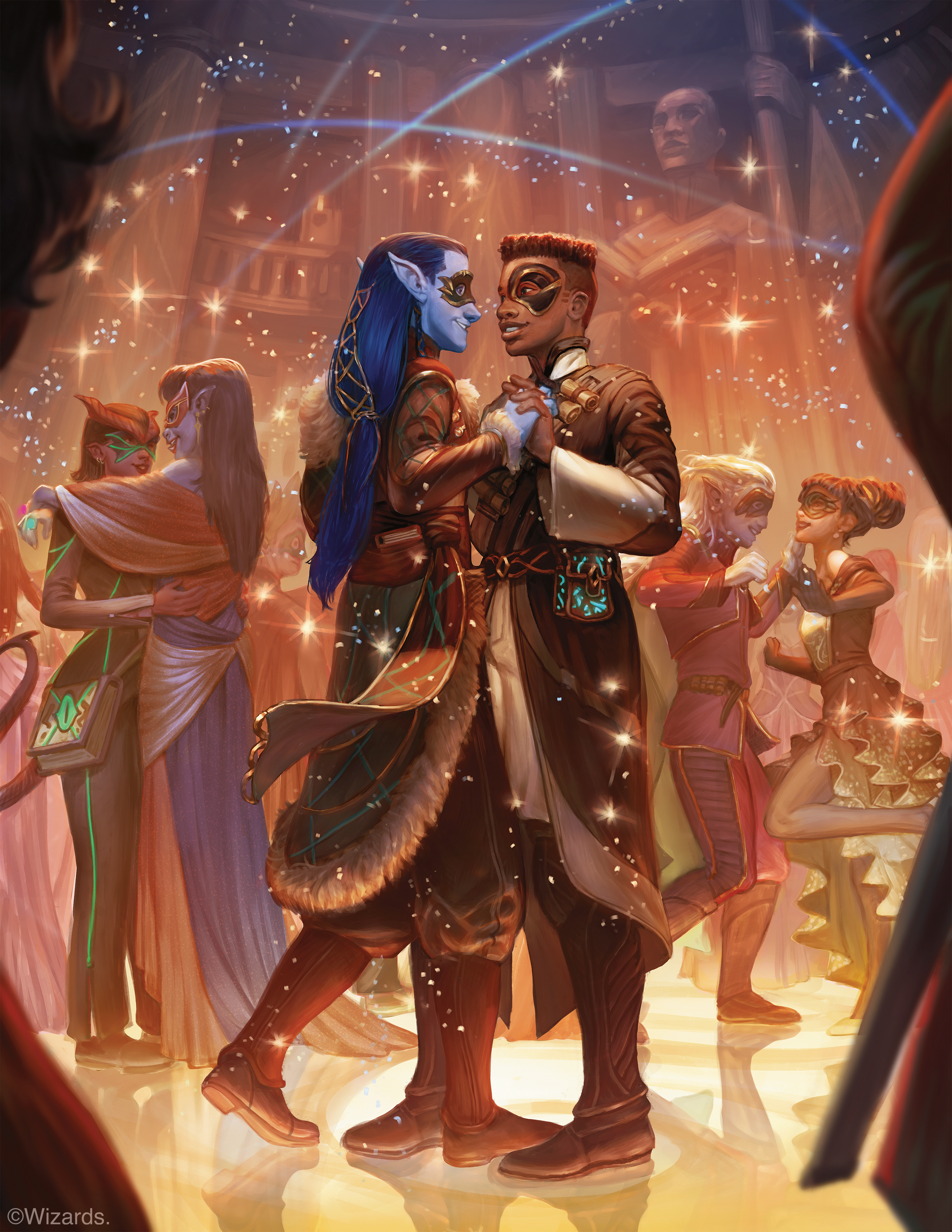 A school-dance scene from Dungeons & Dragons' adventure book Strixhaven: A Curriculum of Chaos