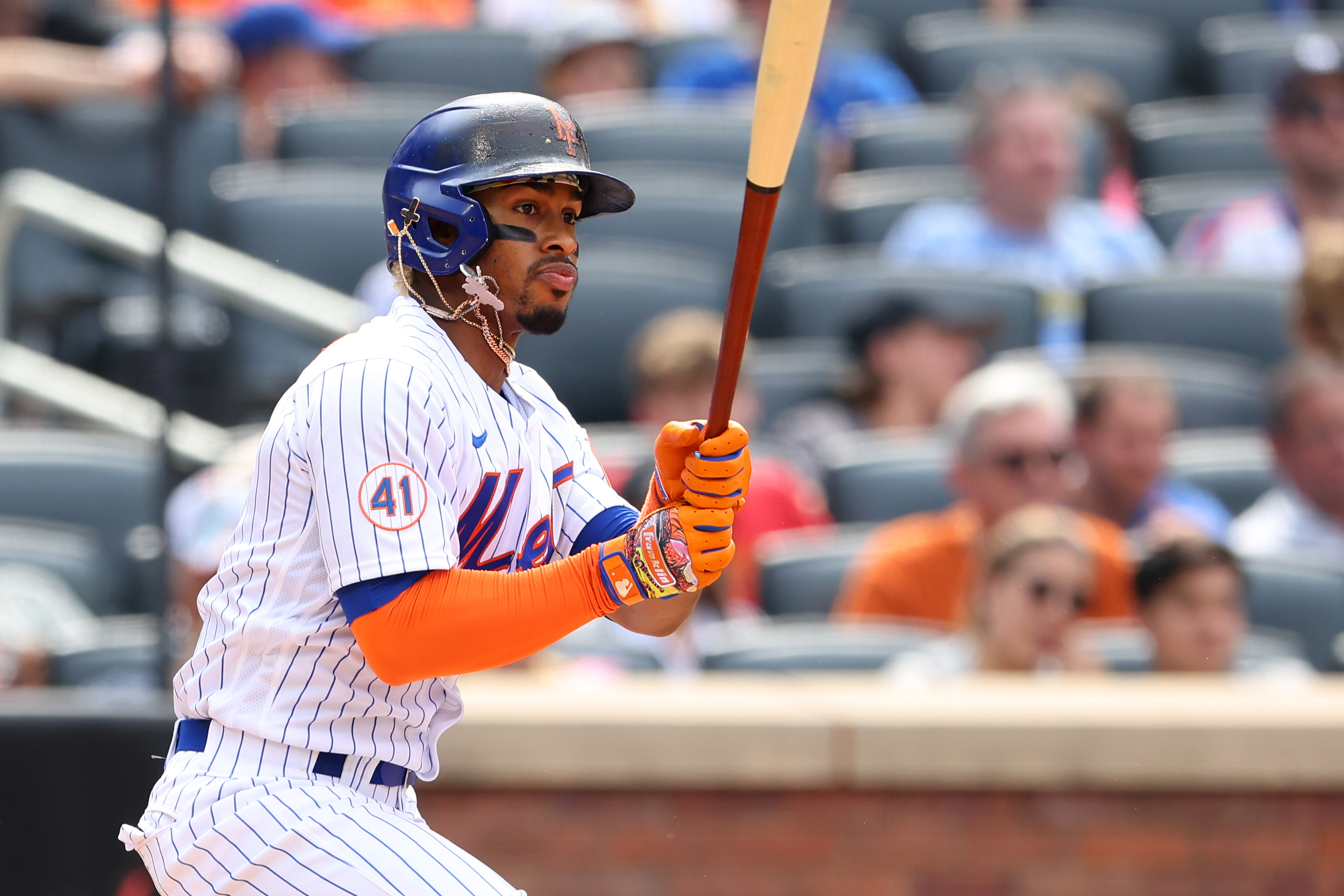 Francisco Lindor #12 of the New York Mets in action against the Pittsburgh Pirates during a game at Citi Field on July 11, 2021 in New York City.