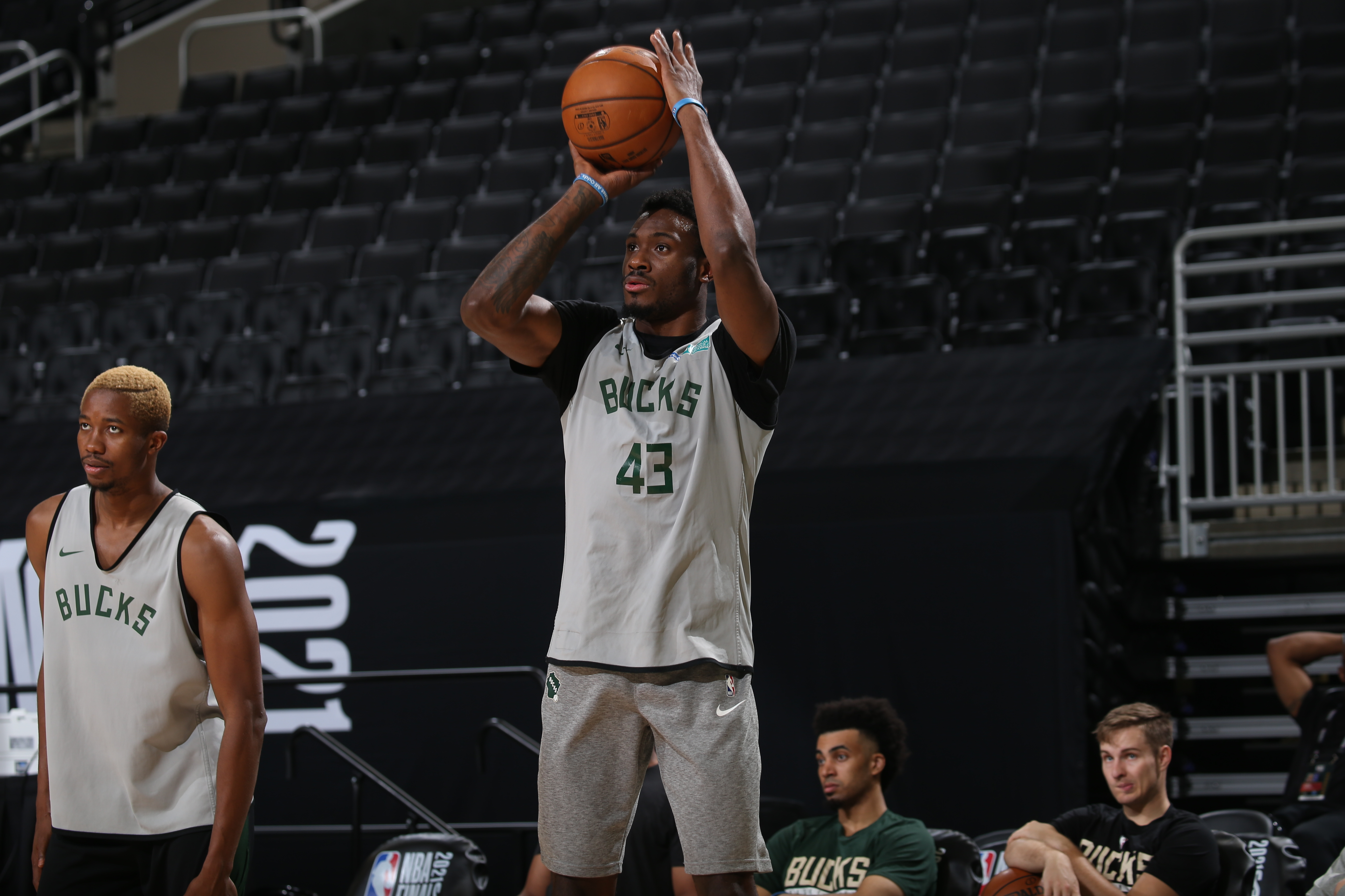 Thanasis Antetokounmpo of the Milwaukee Bucks shoots during practice and media availability as part of the 2021 NBA Finals on July 13, 2021 at Fiserv Forum Center in Milwaukee, Wisconsin.