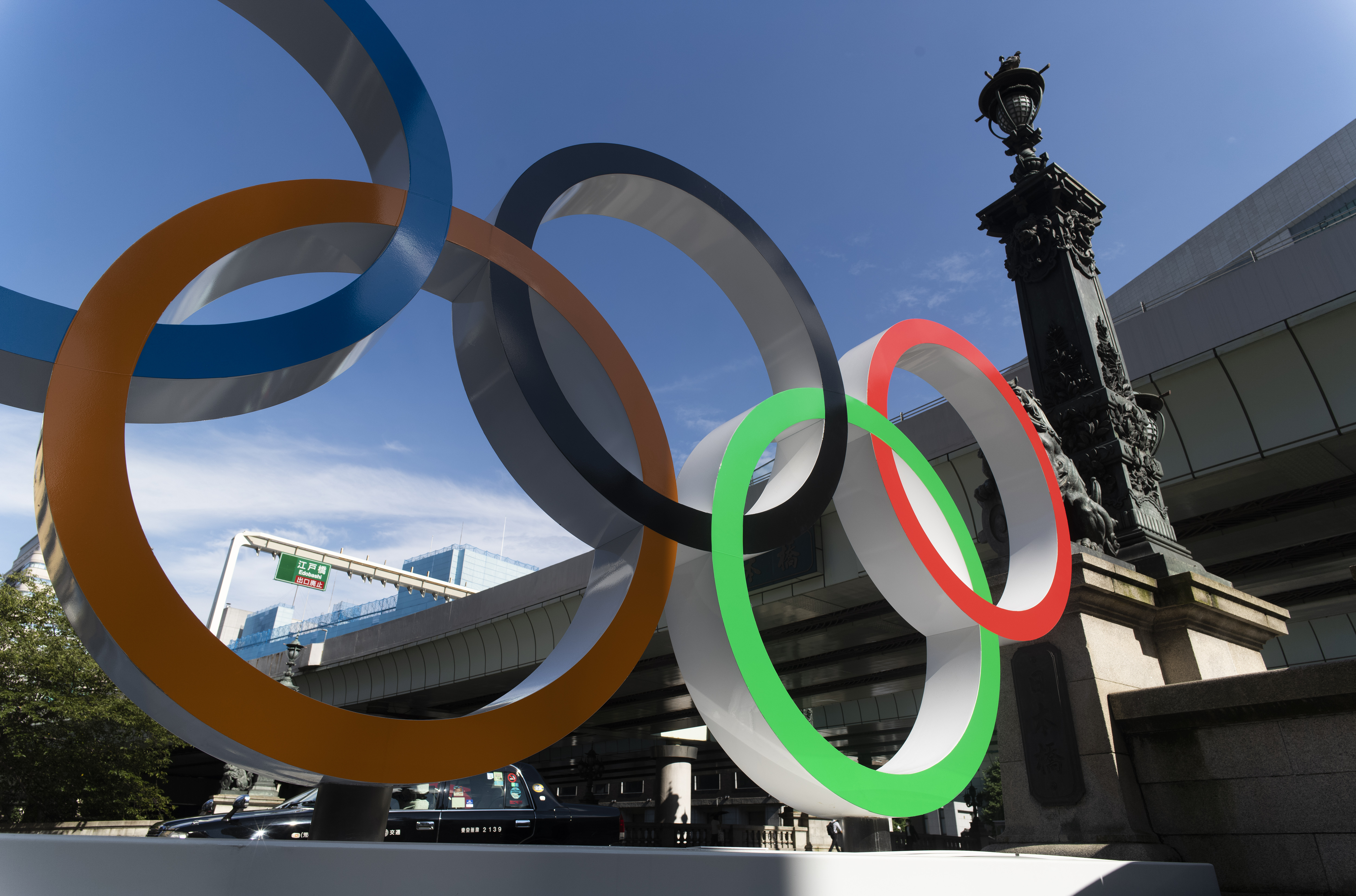 The Olympic rings installed by the Nippon Bashi bridge in Tokyo are pictured on Thursday, July 15, 2021.