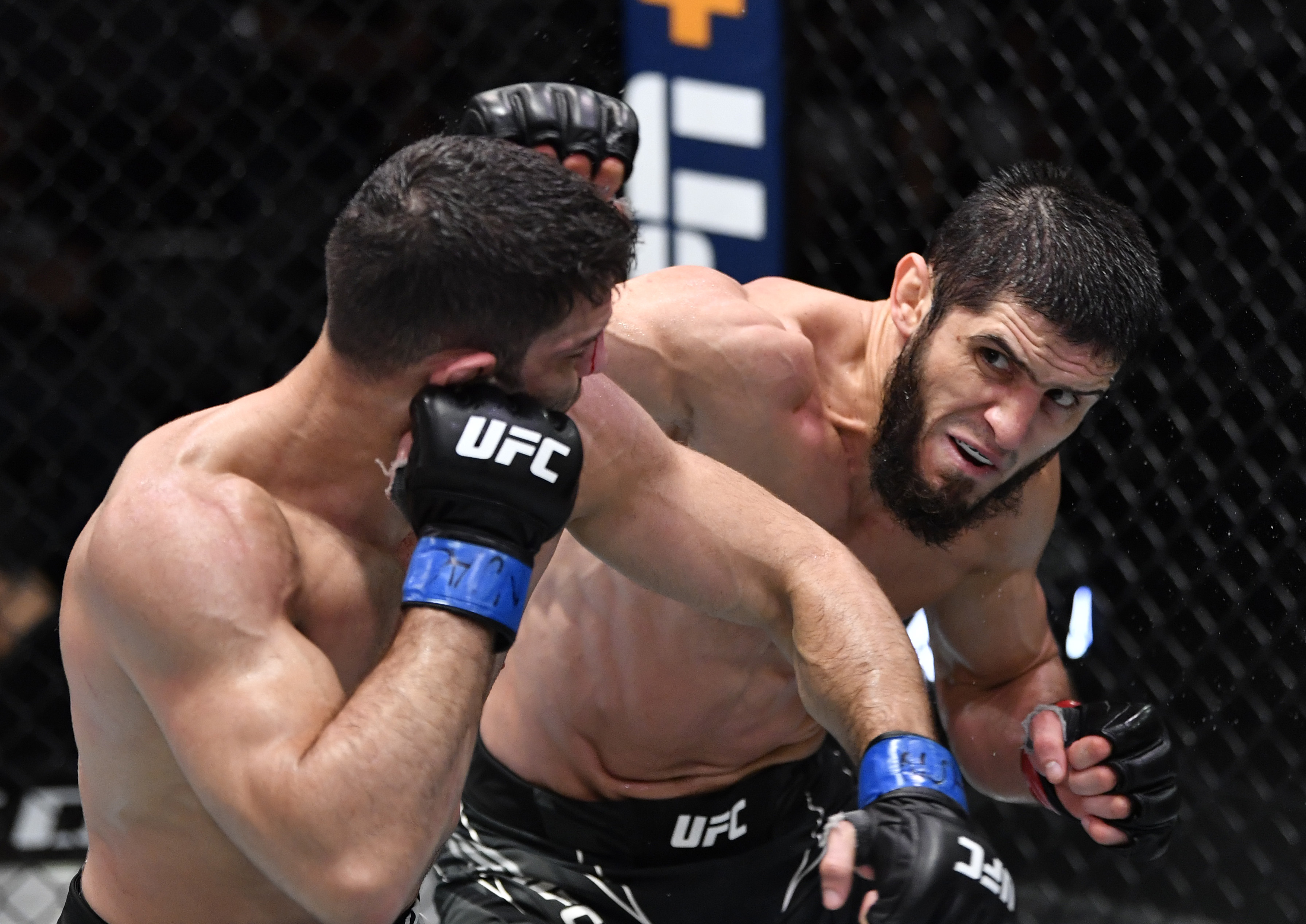 Islam Makhachev exchanging with Thiago Moises at UFC Vegas 31 on Saturday night.