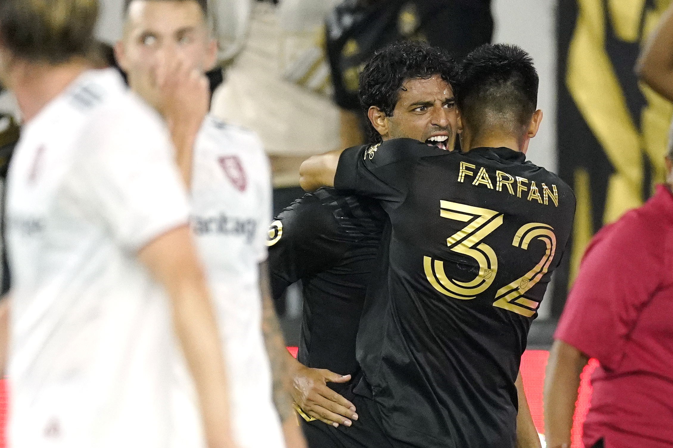 Los Angeles FC forward Carlos Vela celebrates his goal during the second half of a Major League Soccer match against Real Salt Lake.