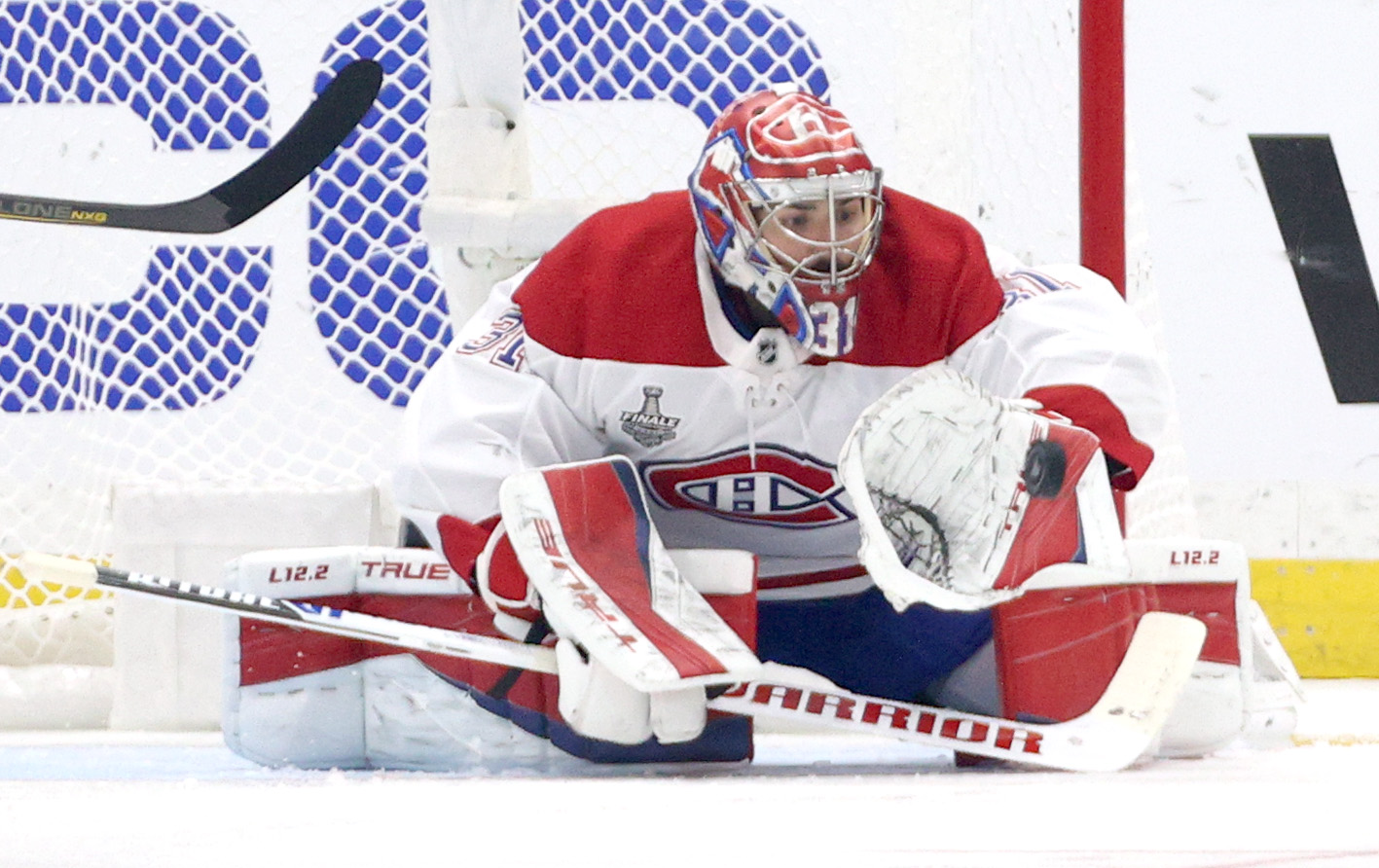 Goaltender Carey Price #31 of the Montreal Canadiens makes a blocker save during the first period of Game Five of the 2021 Stanley Cup Final against the Tampa Bay Lightning at Amalie Arena on July 07, 2021 in Tampa, Florida.