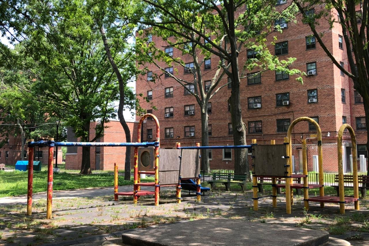 Paint was peeling off a playground in the Gravesend Houses in Coney Island, July 14, 2021.