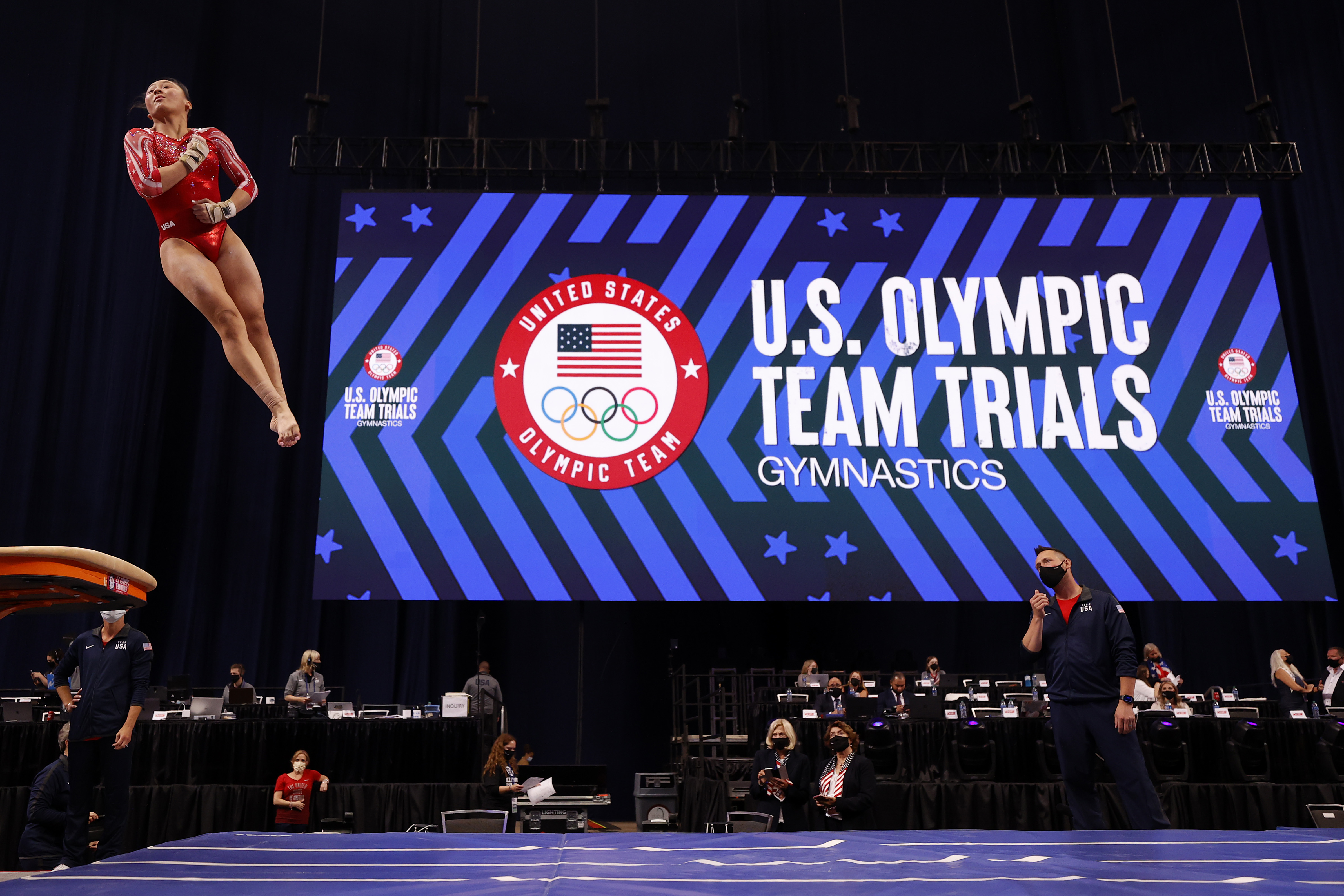 Emma Malabuyo warms up on the vault prior to the Women's competition of the 2021 U.S. Gymnastics Olympic Trials at America's Center on June 27, 2021 in St Louis, Missouri.