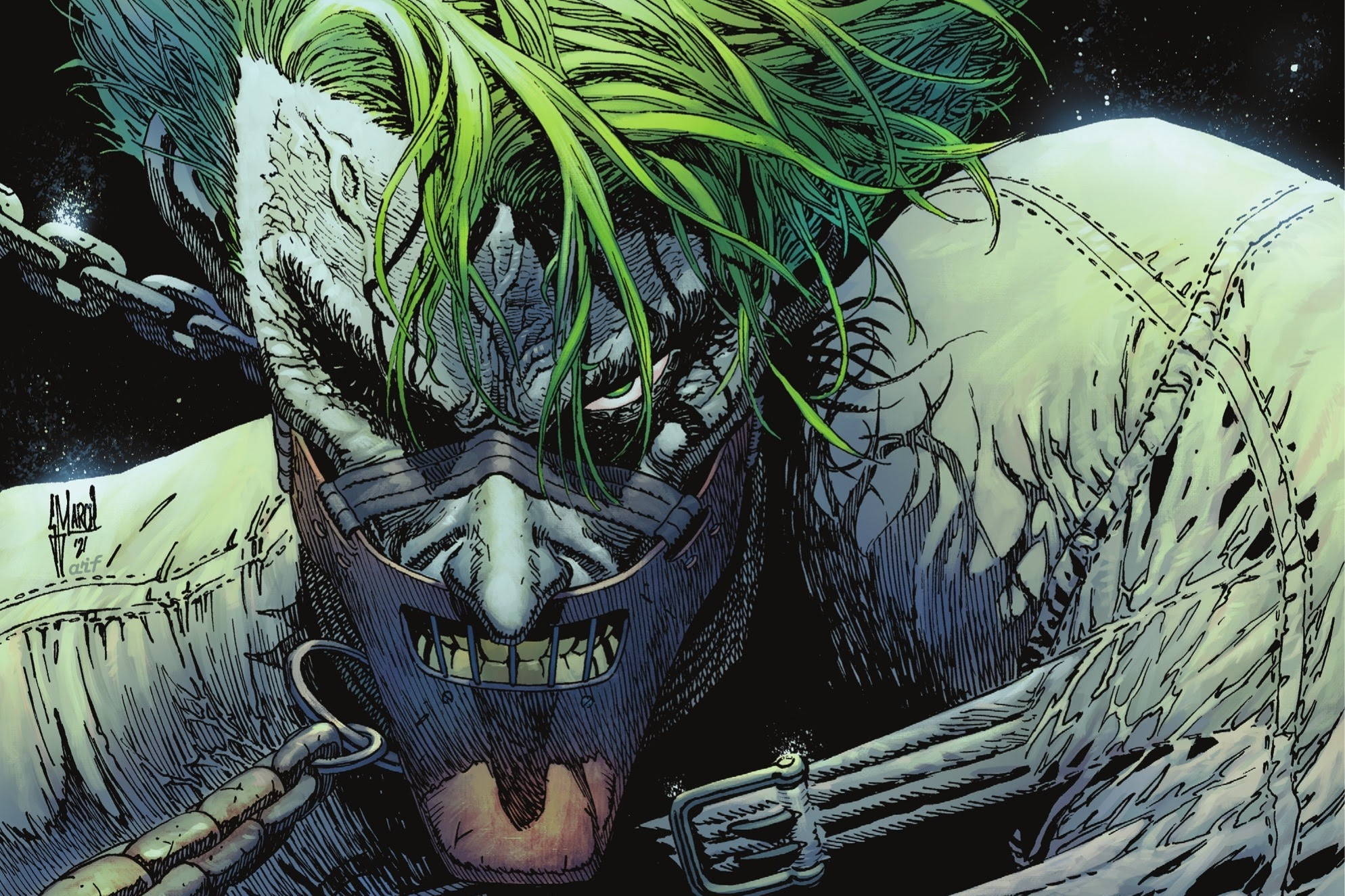 The Joker, chained, straightjacketed, and muzzled like Hannibal Lector, ominously stares with one eye at the viewer on the cover of The Joker #5 (2021).