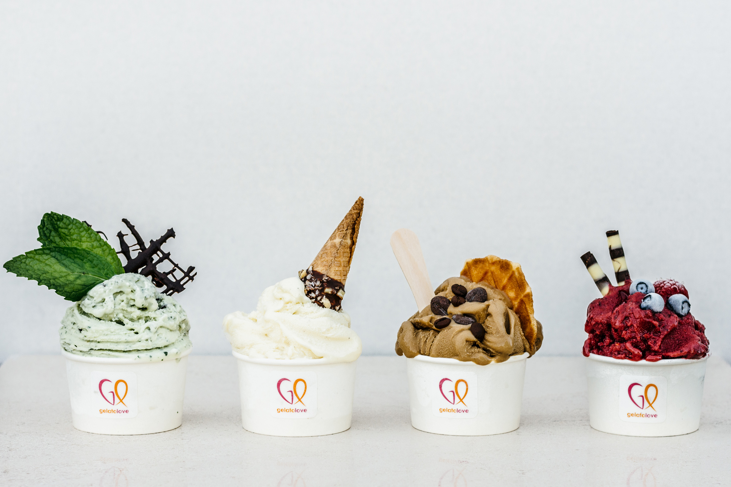 Four cups of assorted gelato from Gelato Love