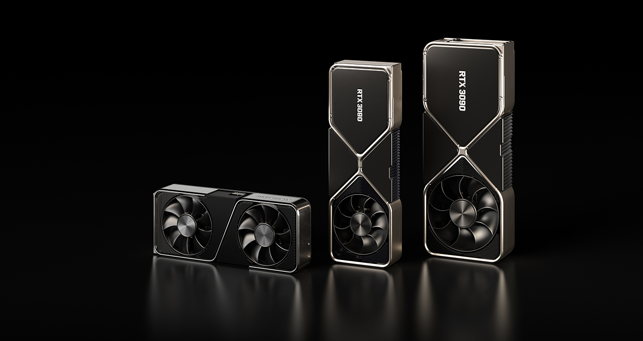 a product render showing the Nvidia GeForce RTX 3070 sitting horizontally to the left of the RTX 3080 and RTX 3090 standing vertically