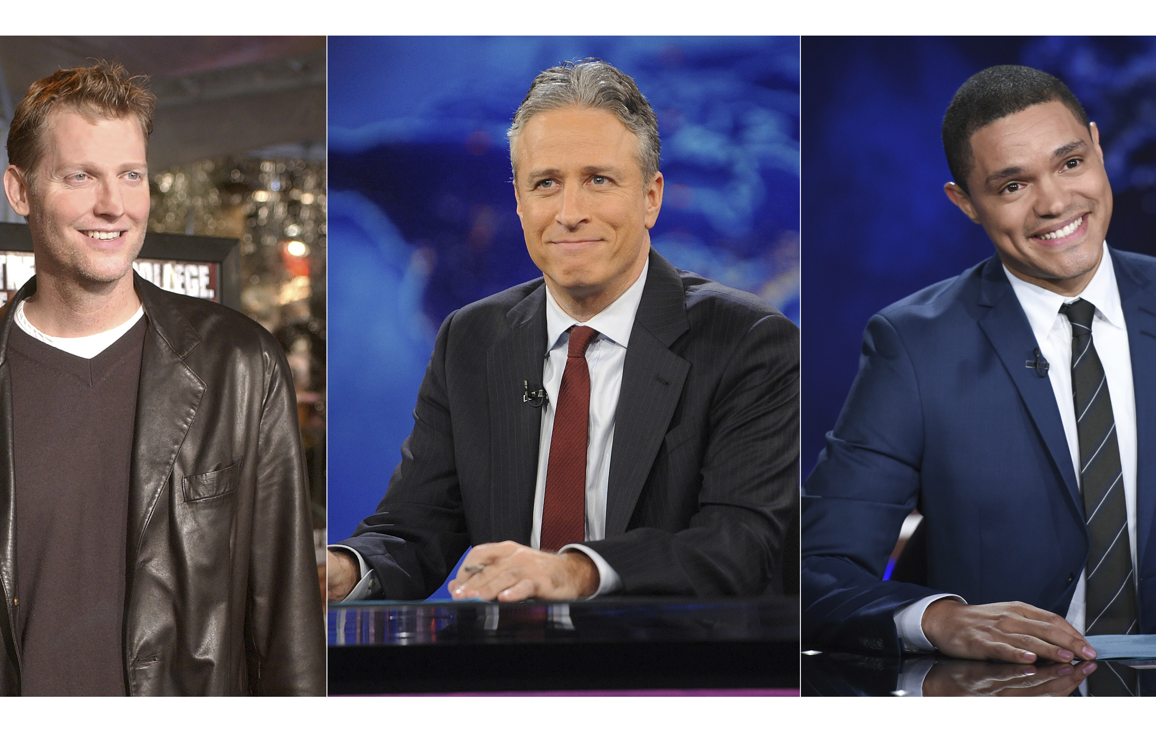 """Craig Kilborn (from left) Jon Stewart held down the anchor fort at """"The Daily Show"""" prior to current host/anchor Trevor Noah (right)."""
