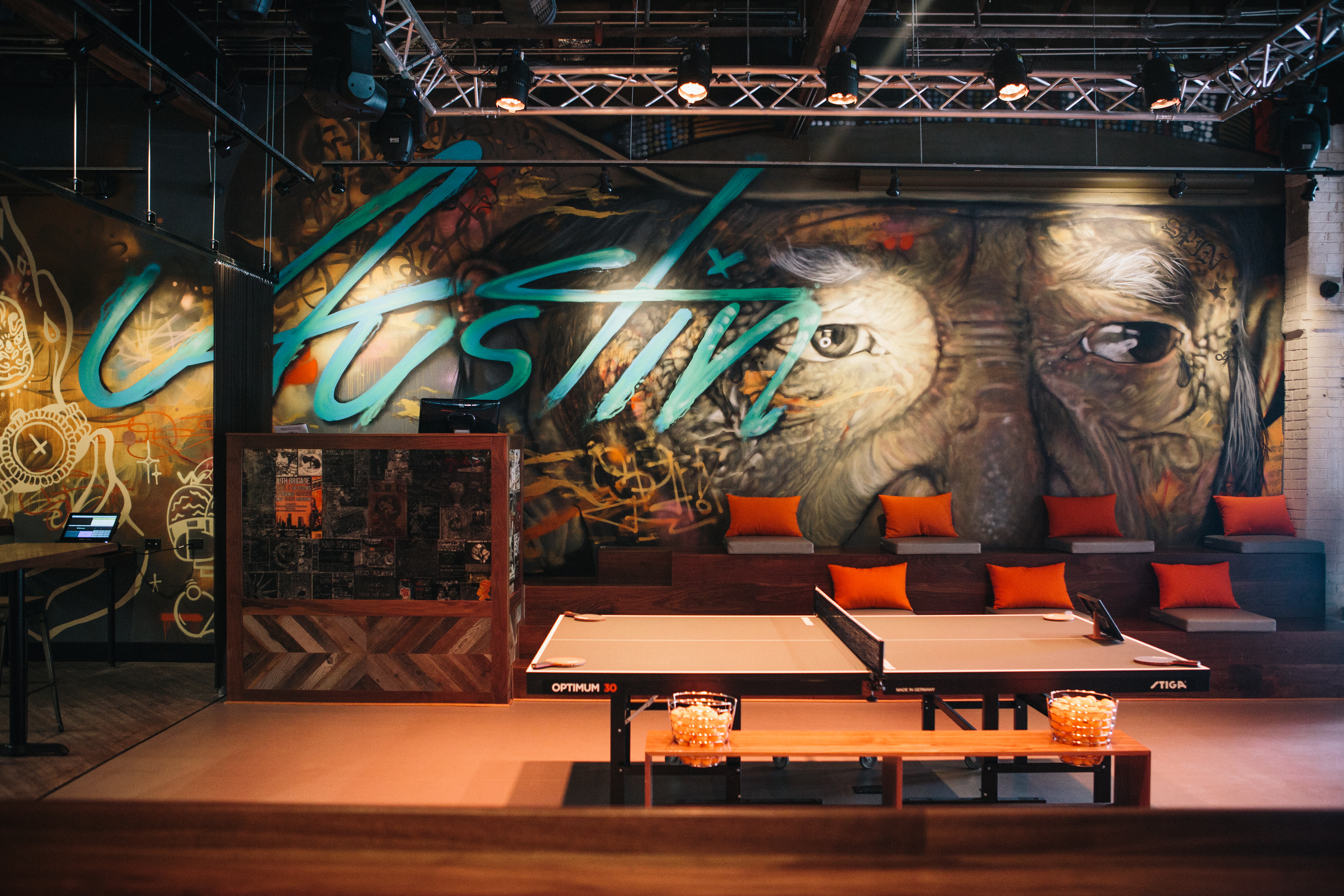 Spin's center court table in Austin