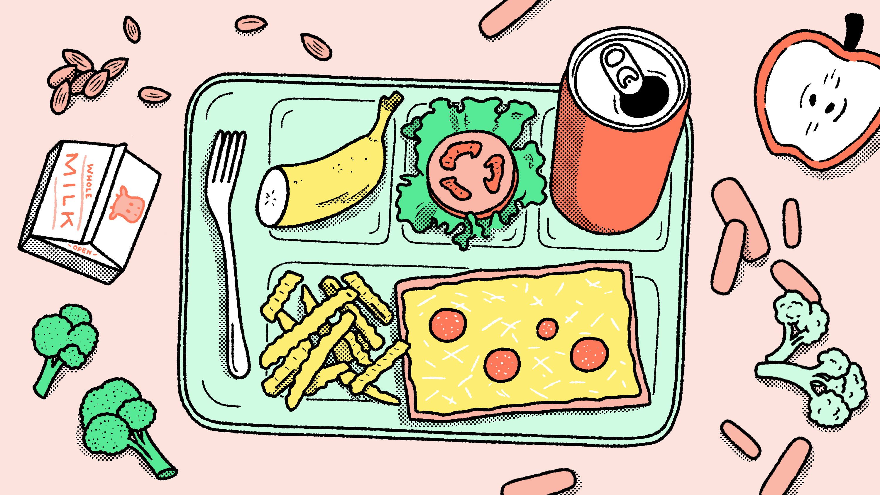 An illustration of a school lunch tray with soda, fries, pizza, and half a banana.