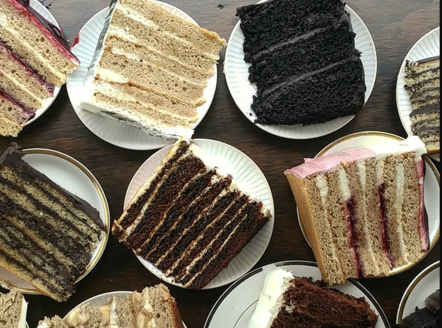 Cake slices at Deep Sea Sugar and Salt, from chocolate to fruit-filled options
